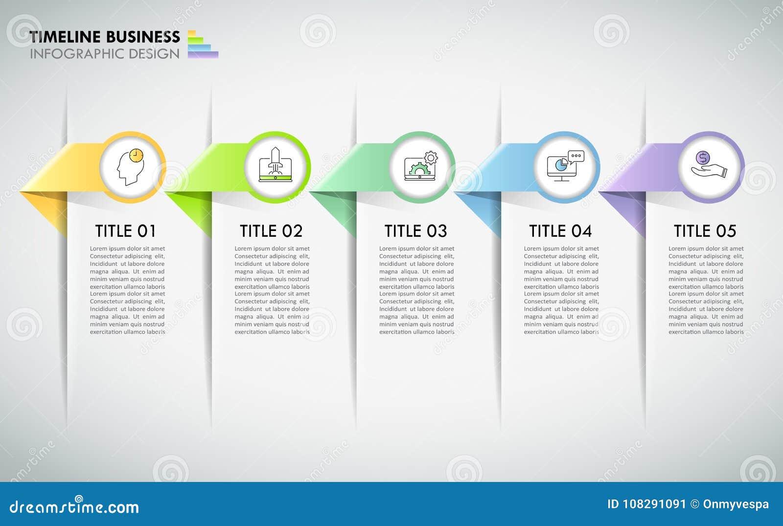 Étapes infographic du calibre 5 de concept d affaires de chronologie