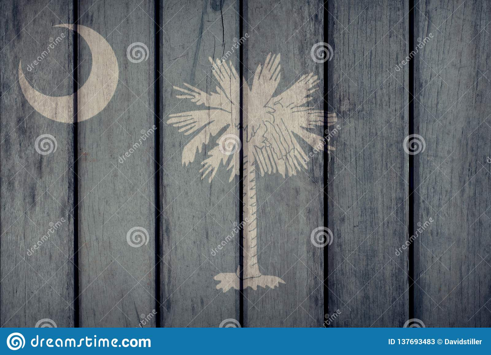 État d USA Carolina Flag Wooden Fence du sud