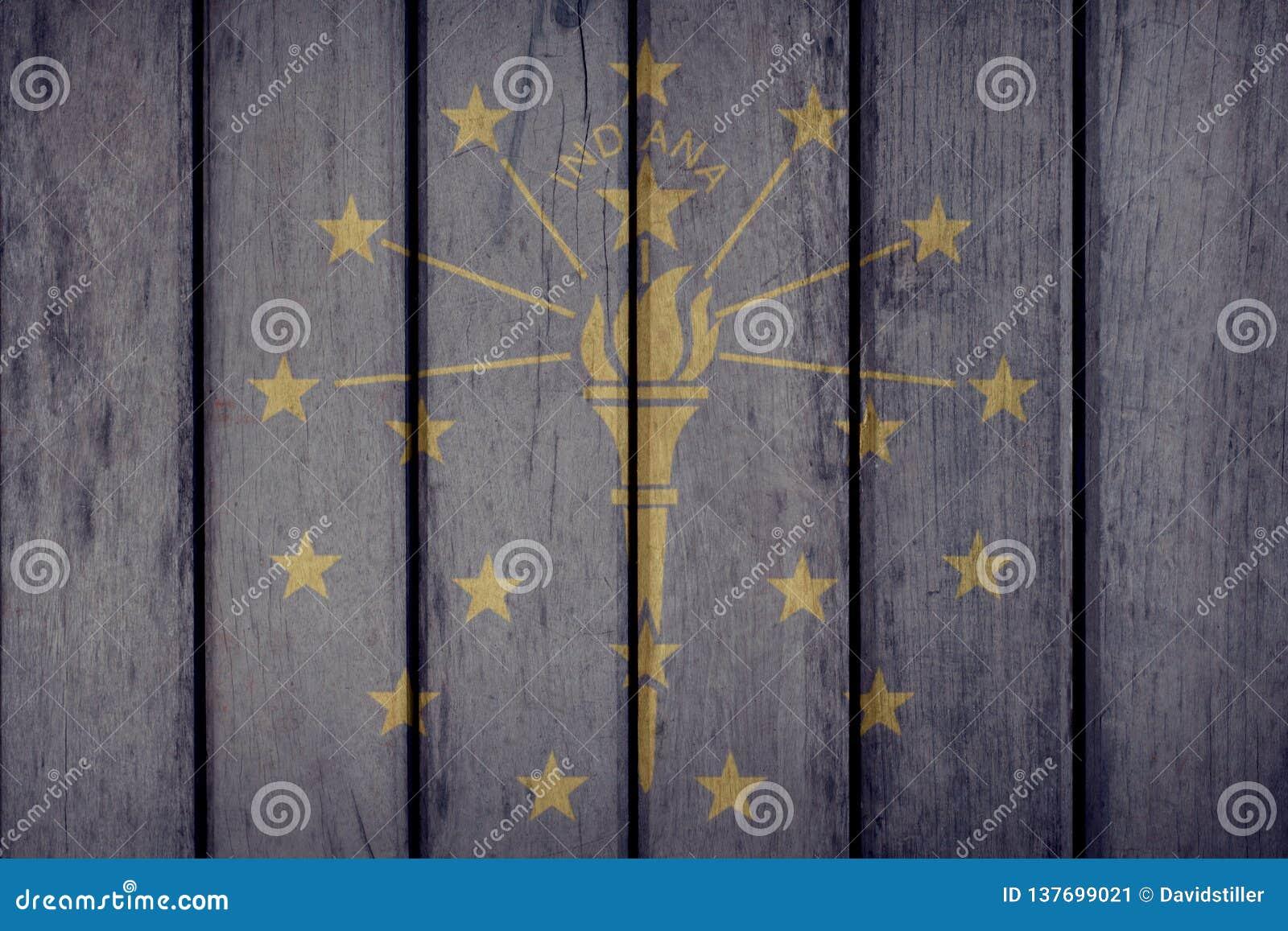 État d USA Indiana Flag Wooden Fence