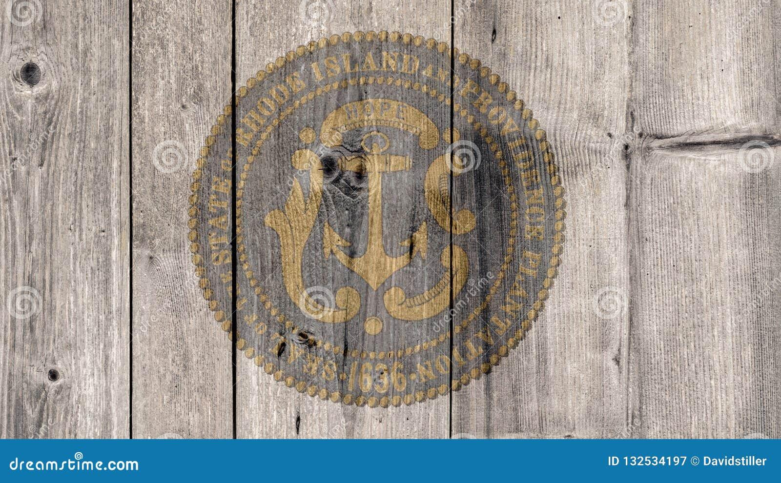 État d USA Rhode Island Seal Wooden Fence