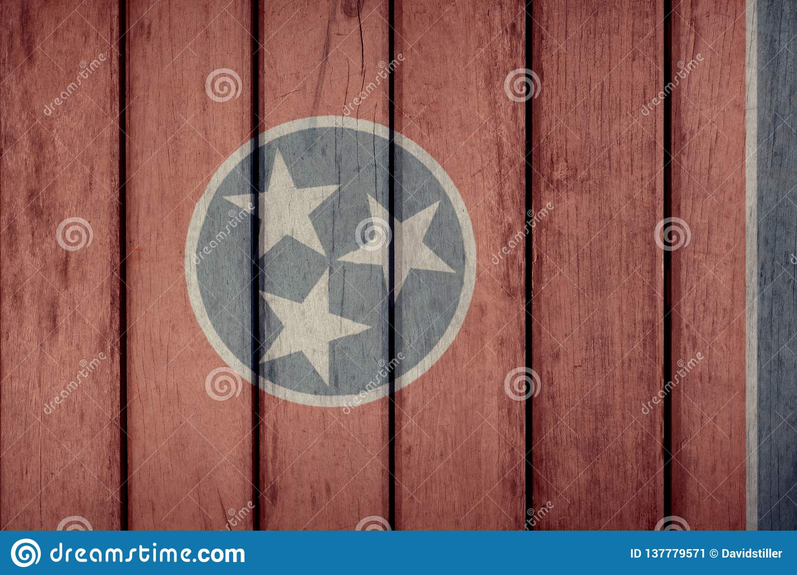 État d USA Tennessee Flag Wooden Fence