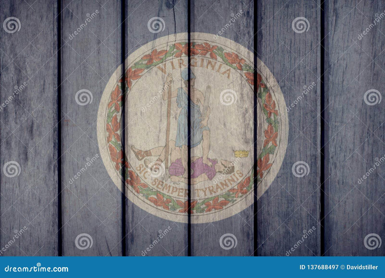 État d USA Virginia Flag Wooden Fence