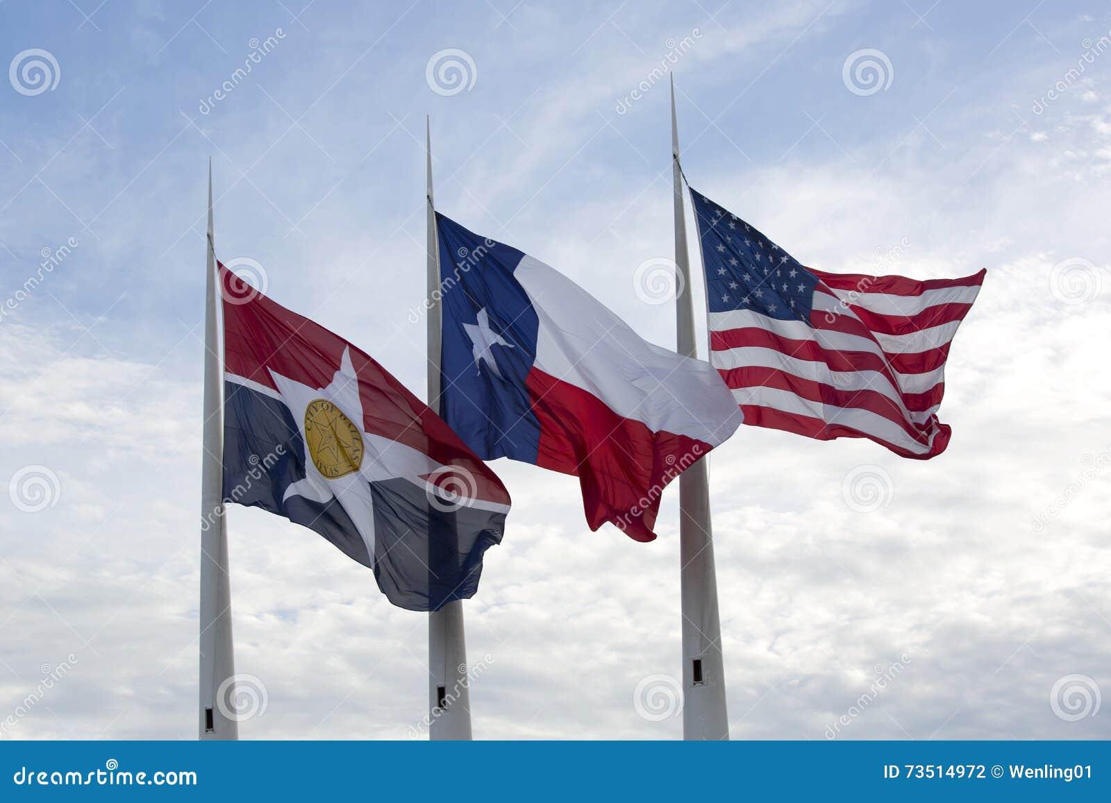 État de l Amérique, du Texas et drapeaux de Dallas