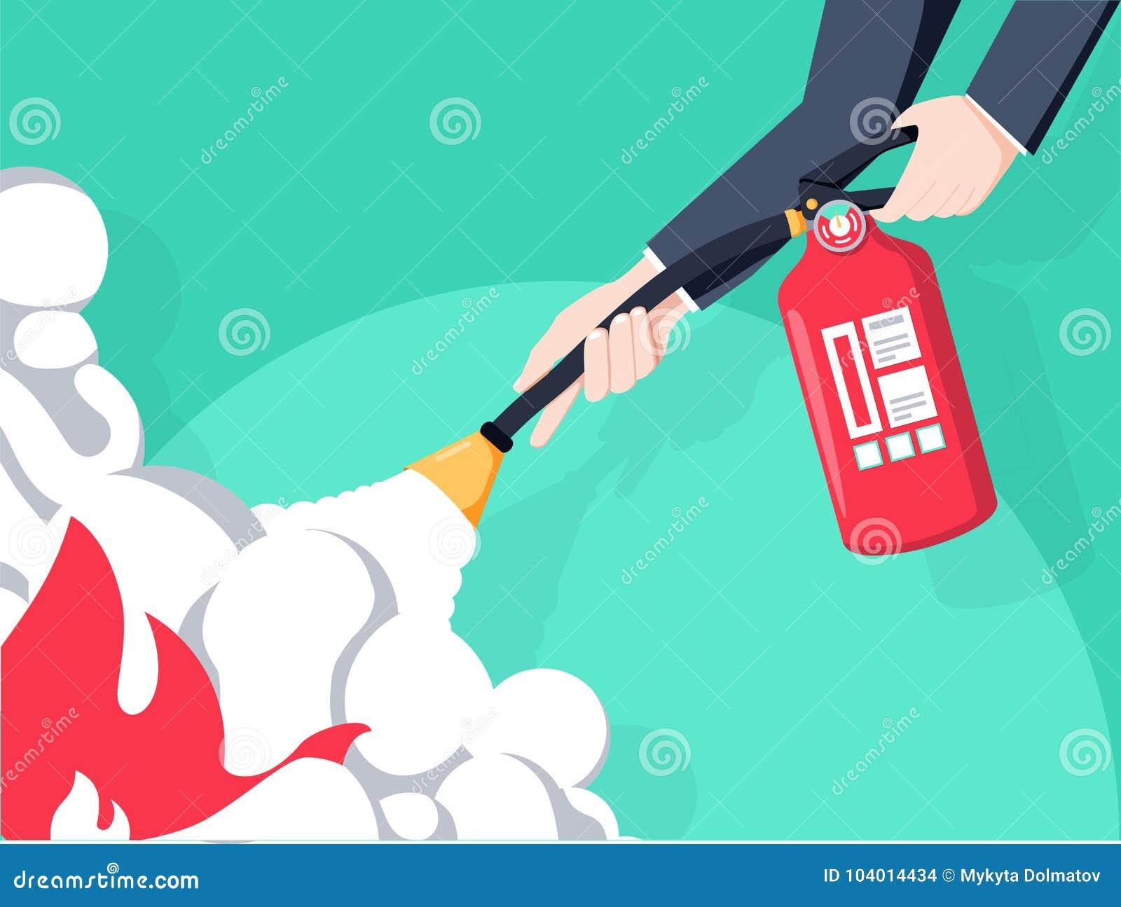 Éteignez-vous le feu Extincteur disponible de prise de pompier Conception plate d illustration de vecteur D isolement sur le fond