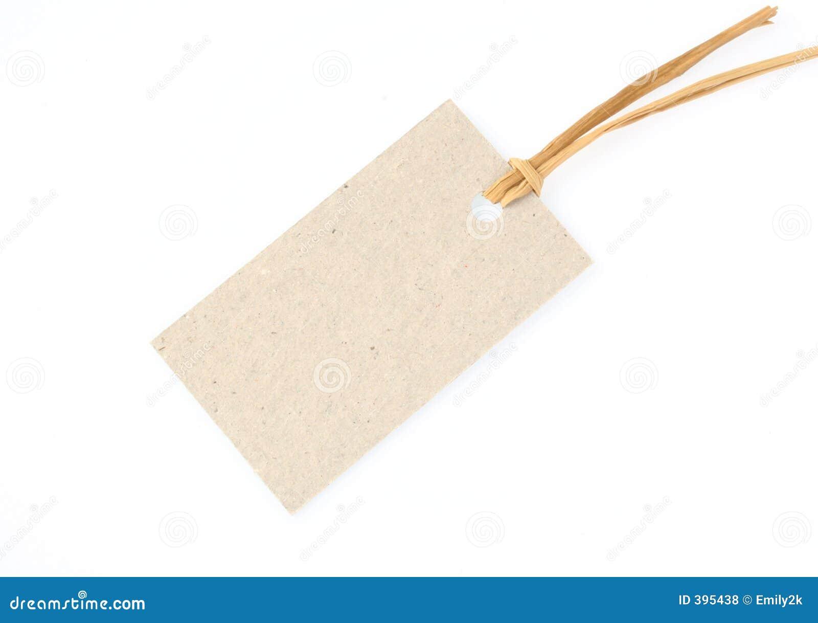 Étiquette avec la corde de paille