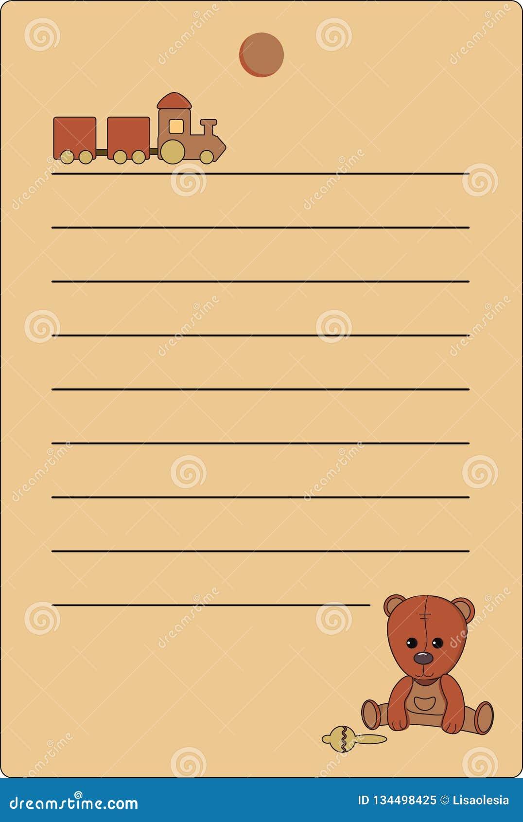 Étiquette avec un ours de nounours et un train de couleurs brunes naturelles