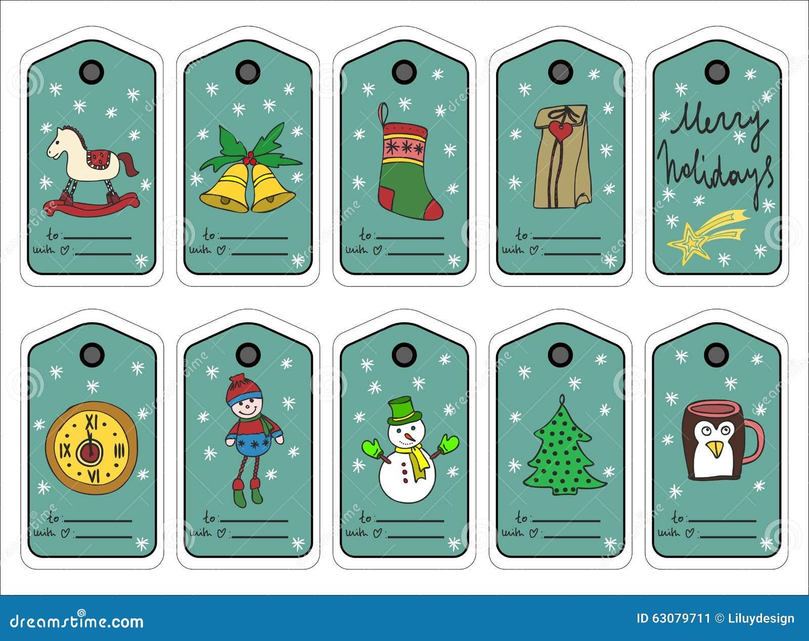 Download Étiquettes, Autocollants Et Labels De Cadeau De Noël Vecteur Illustration de Vecteur - Illustration du neuf, griffonnage: 63079711