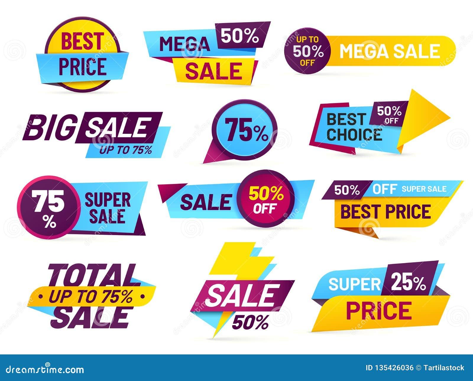 Étiquettes de vente Autocollants de ventes au détail, étiquette de promotion et ensemble de vecteur d isolement par autocollant d
