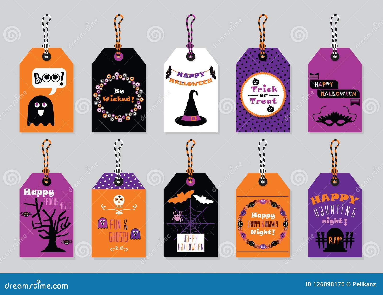 Étiquettes heureuses de cadeau de Halloween de couleurs de chute réglées sur le fond gris à la mode