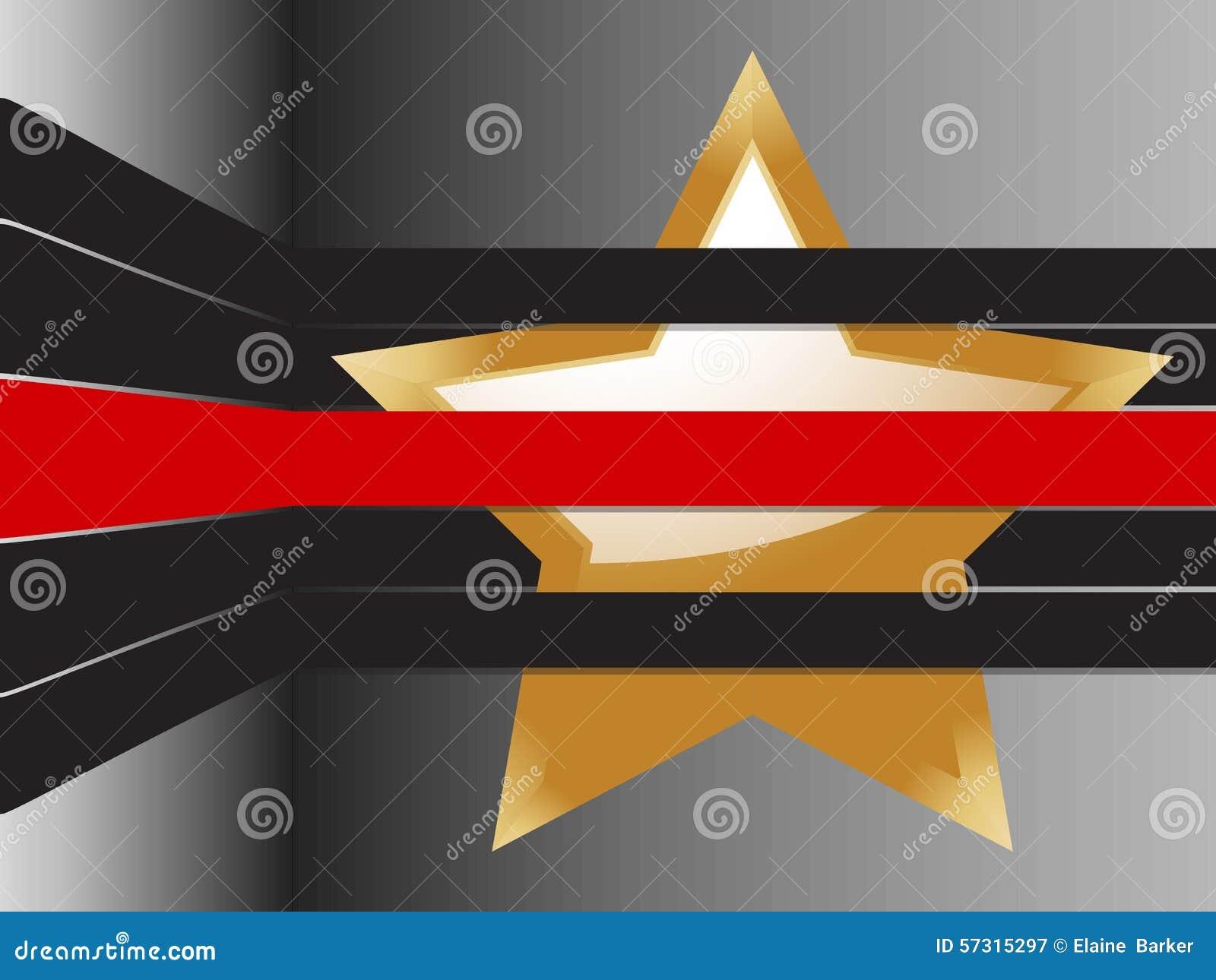 Étoile d or et fond de rayures
