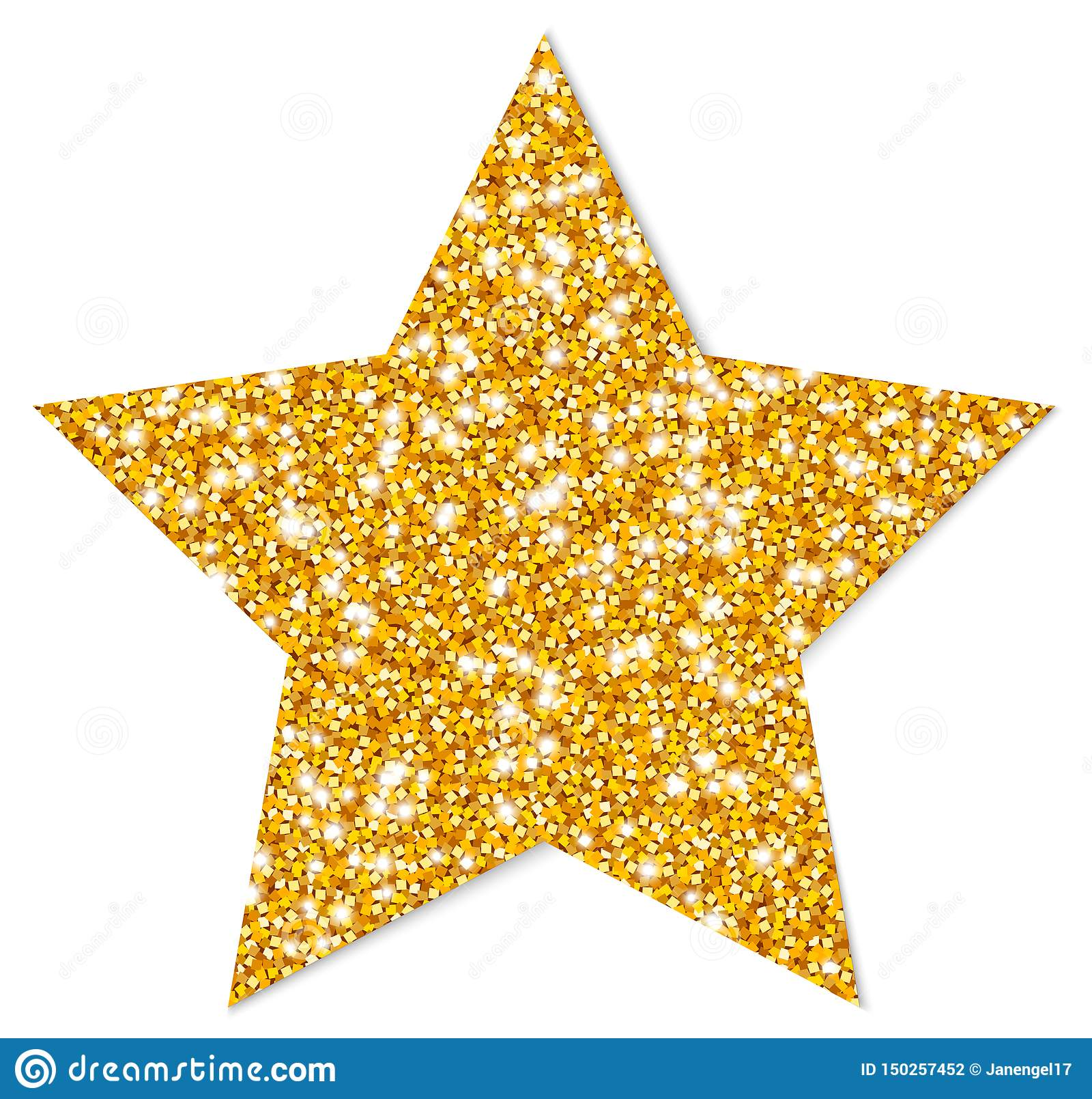 Étoile d or d isolement simple miroitant avec l ombre