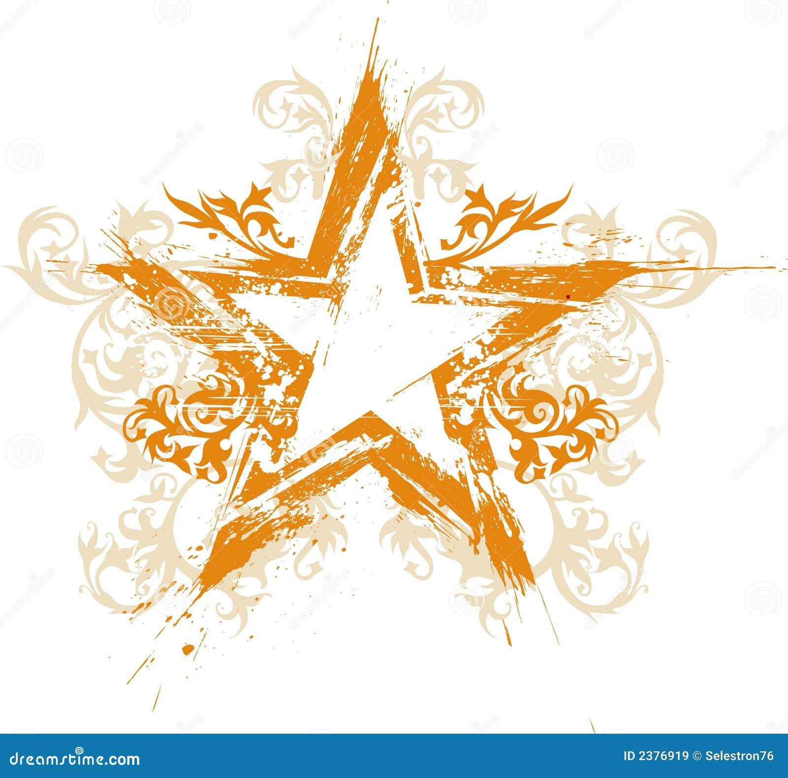 Étoile grunge florale d or