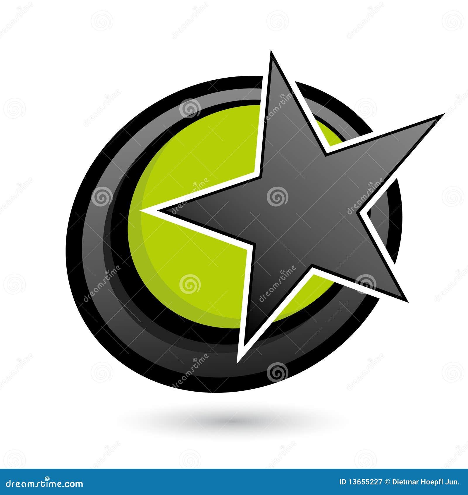 Étoile sur le cercle vert et noir