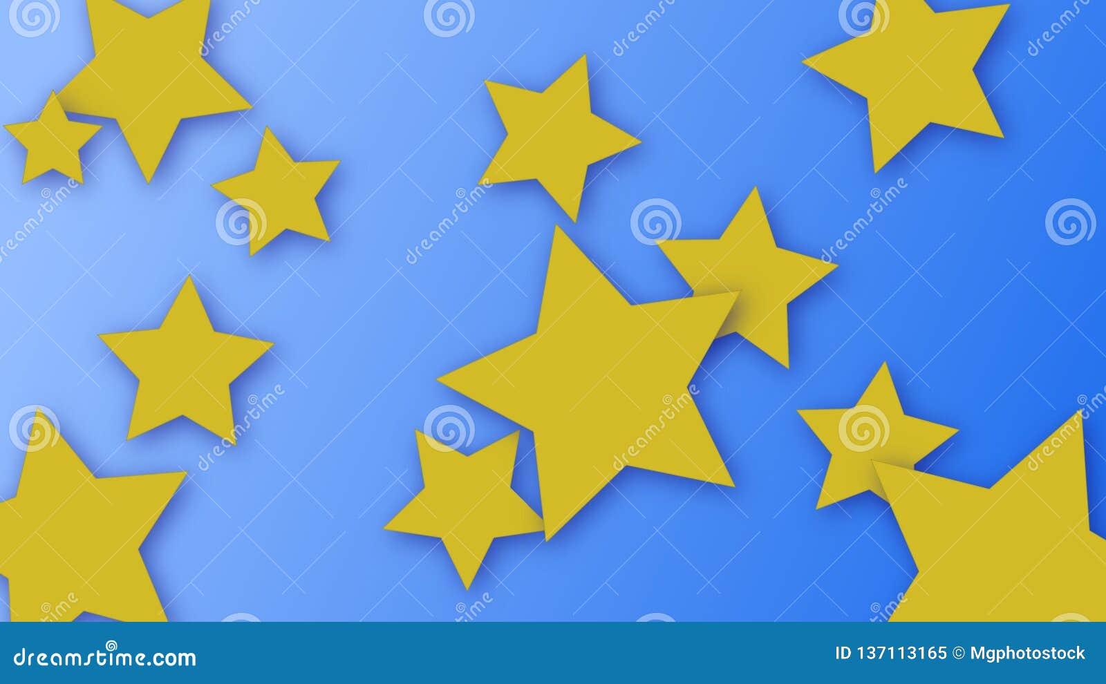 Étoiles jaunes avec le fond bleu