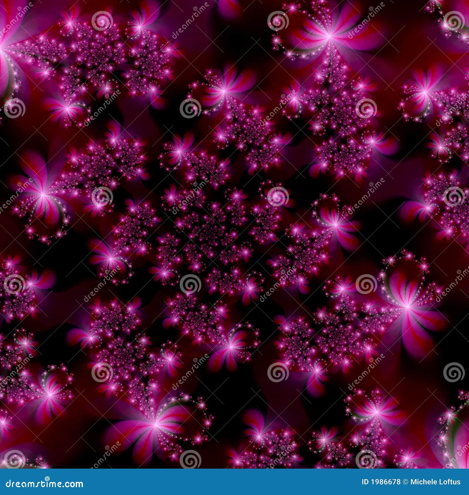 Étoiles roses magenta de fractale à l arrière-plan d abrégé sur l espace
