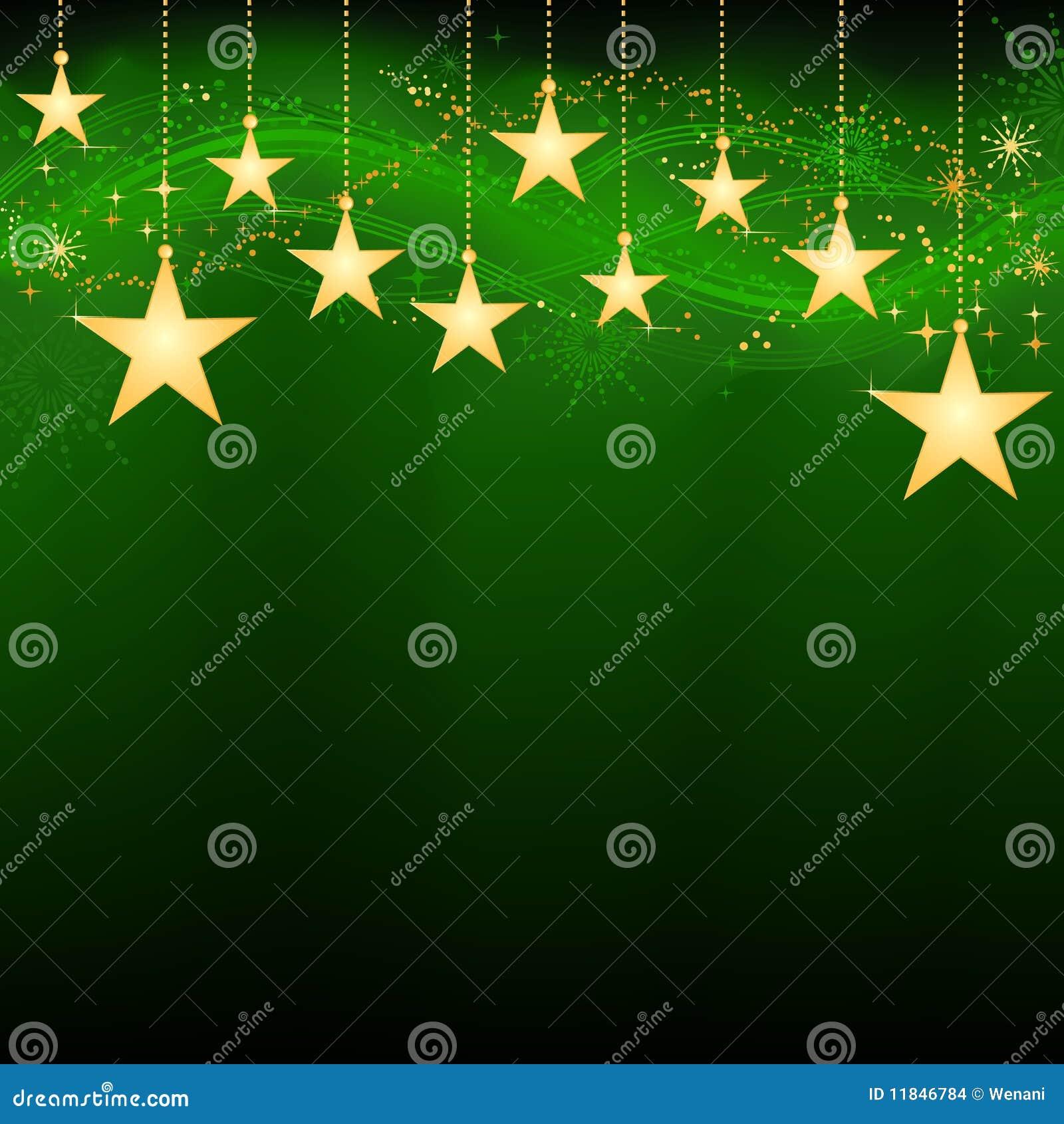 Étoiles s arrêtantes d or sur le fond vert-foncé