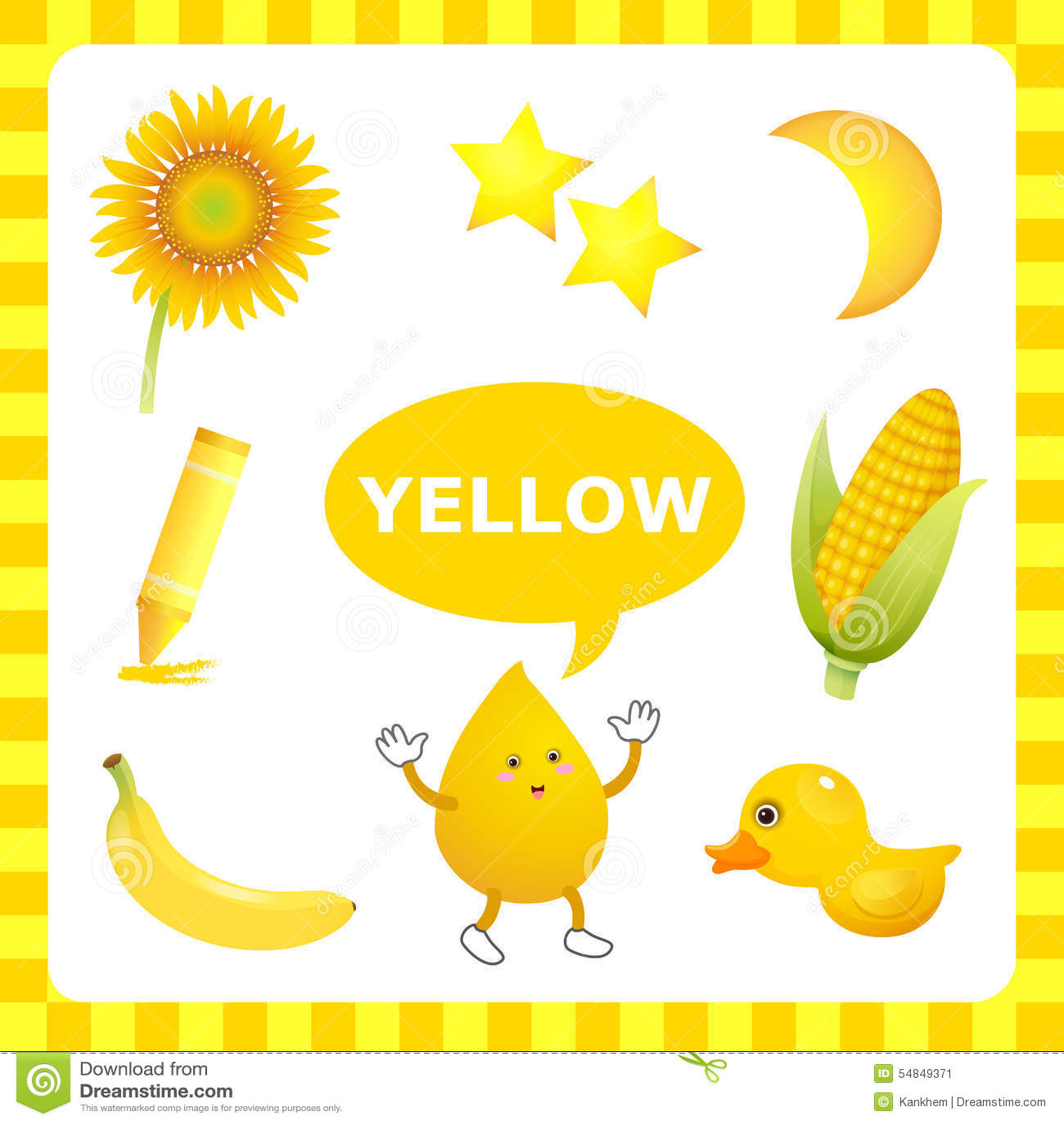 Couleur Qui Sont Des Choses Étude de la couleur jaune illustration de vecteur. illustration du