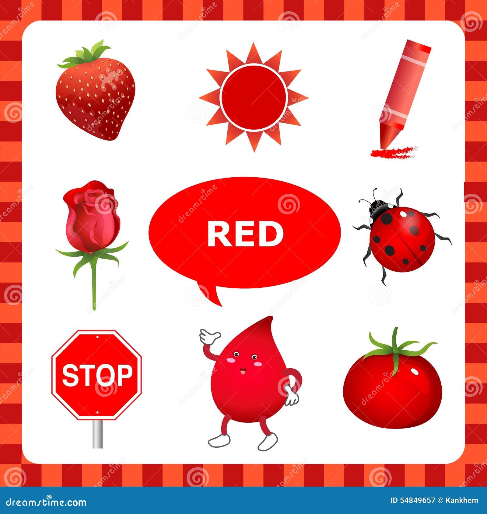 Couleur Qui Sont Des Choses Étude de la couleur rouge illustration de vecteur. illustration du