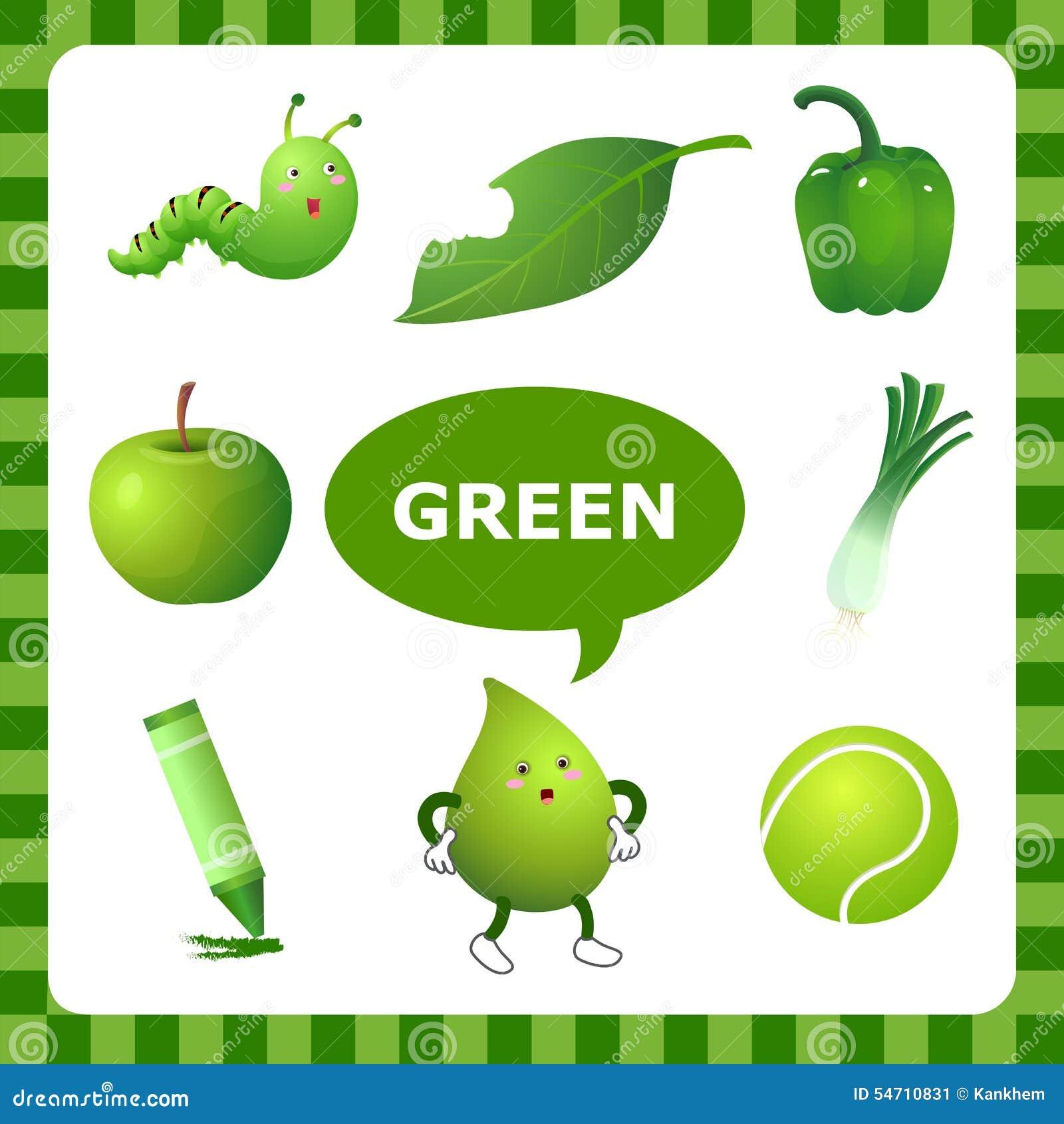 Couleur Qui Sont Des Choses Étude de la couleur verte illustration de vecteur. illustration du