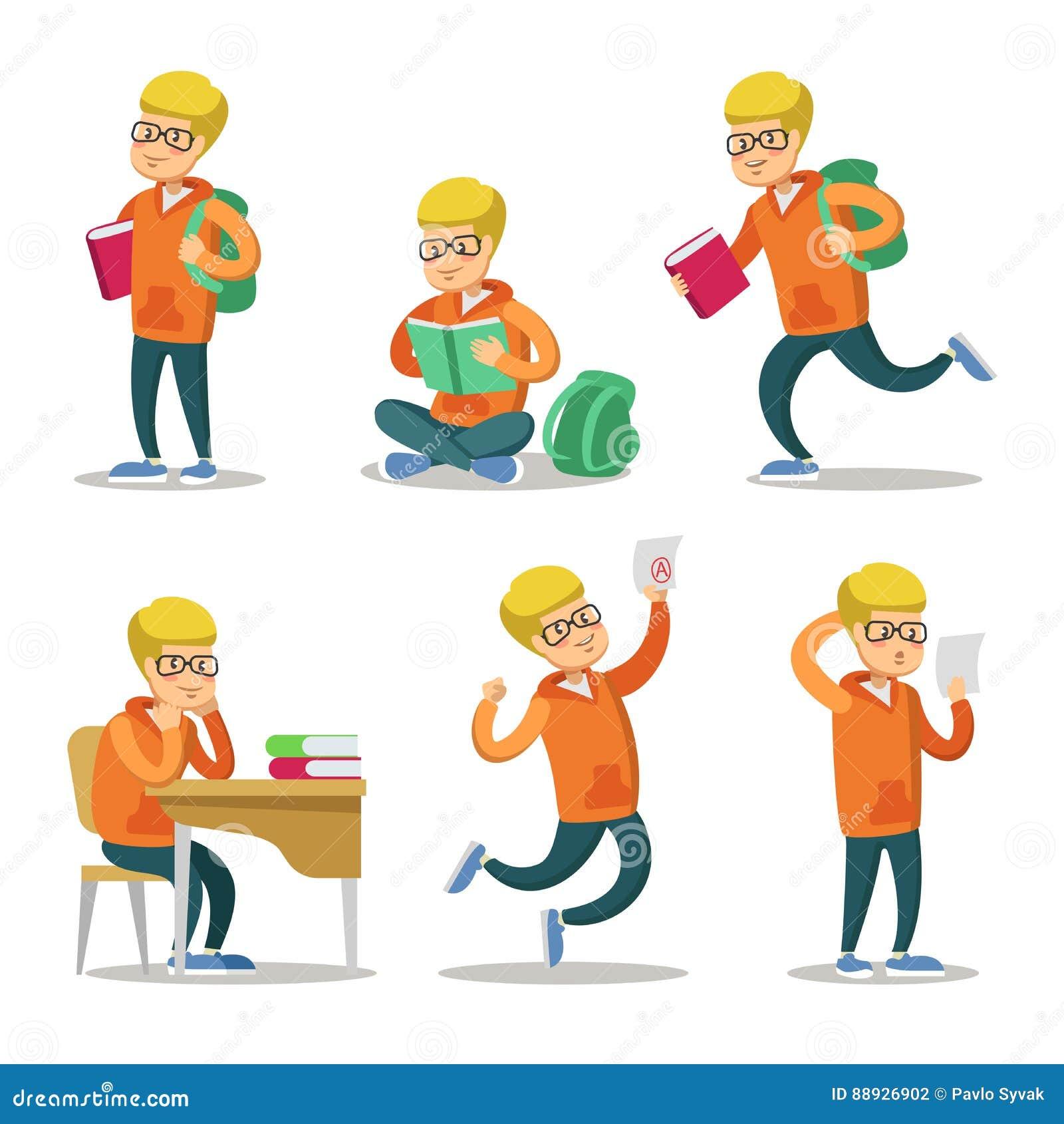 Étudiant mignon Cartoon Character Set Adolescent avec le livre