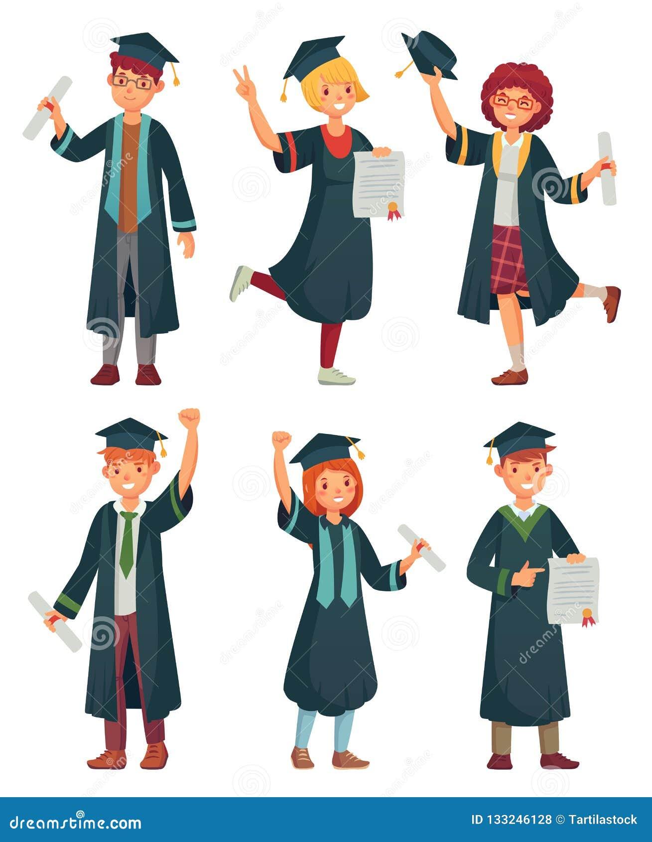 Étudiants de diplômés Étudiant universitaire dans les robes d obtention du diplôme, l homme d université instruite et la bande de