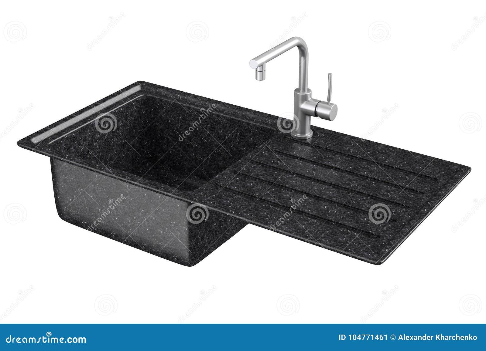 Évier De Cuisine Moderne De Granit Avec Le Robinet D\'eau D ...