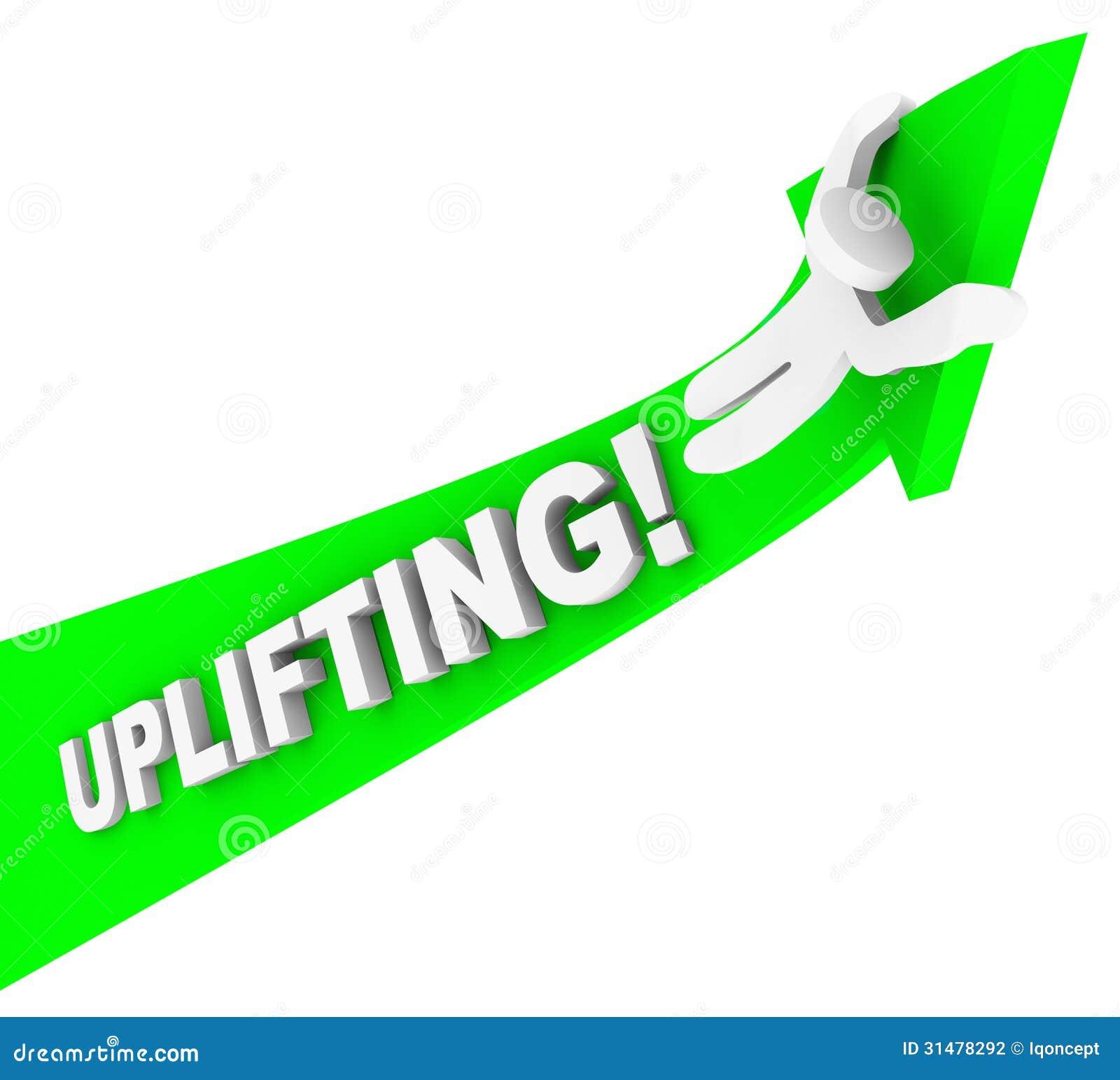Éxito de Person Riding Arrow Achiving Higher de la palabra que eleva