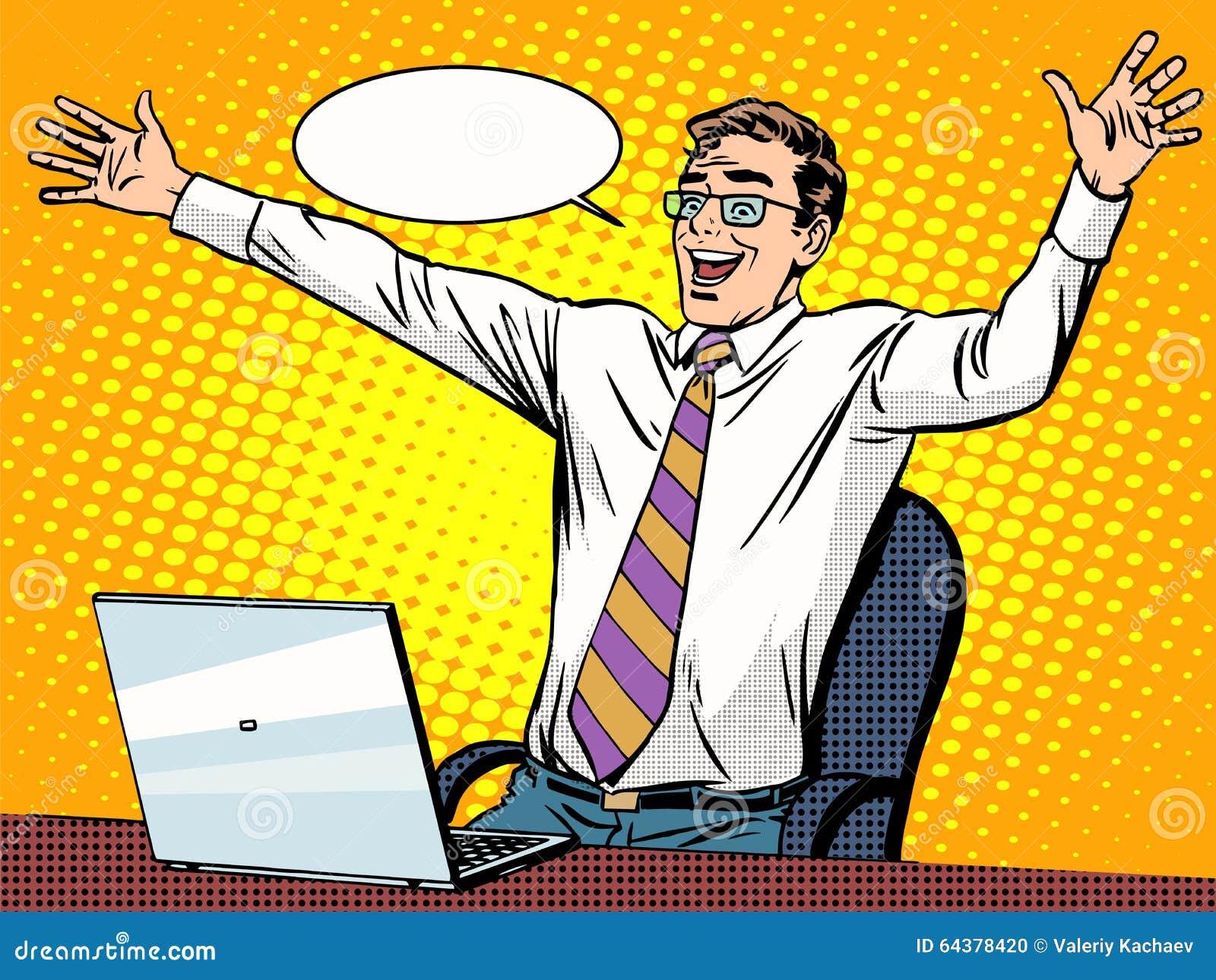 Éxito del hombre de negocios que trabaja en el ordenador portátil