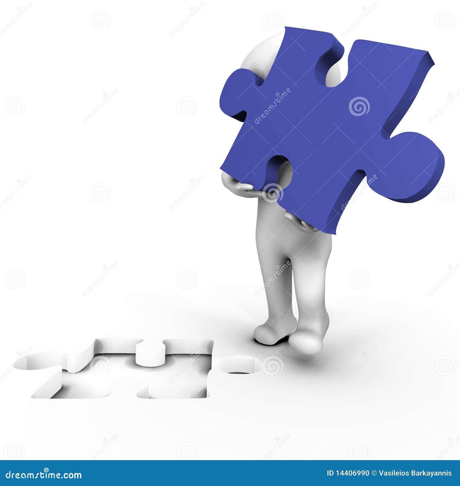 Être humain retenant la partie manquante de puzzle - image 3d