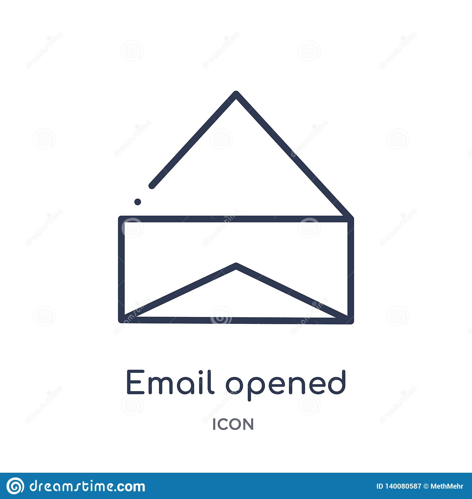 ícone aberto e-mail do envelope da coleção do esboço da interface de usuário A linha fina e-mail abriu o ícone do envelope isolad