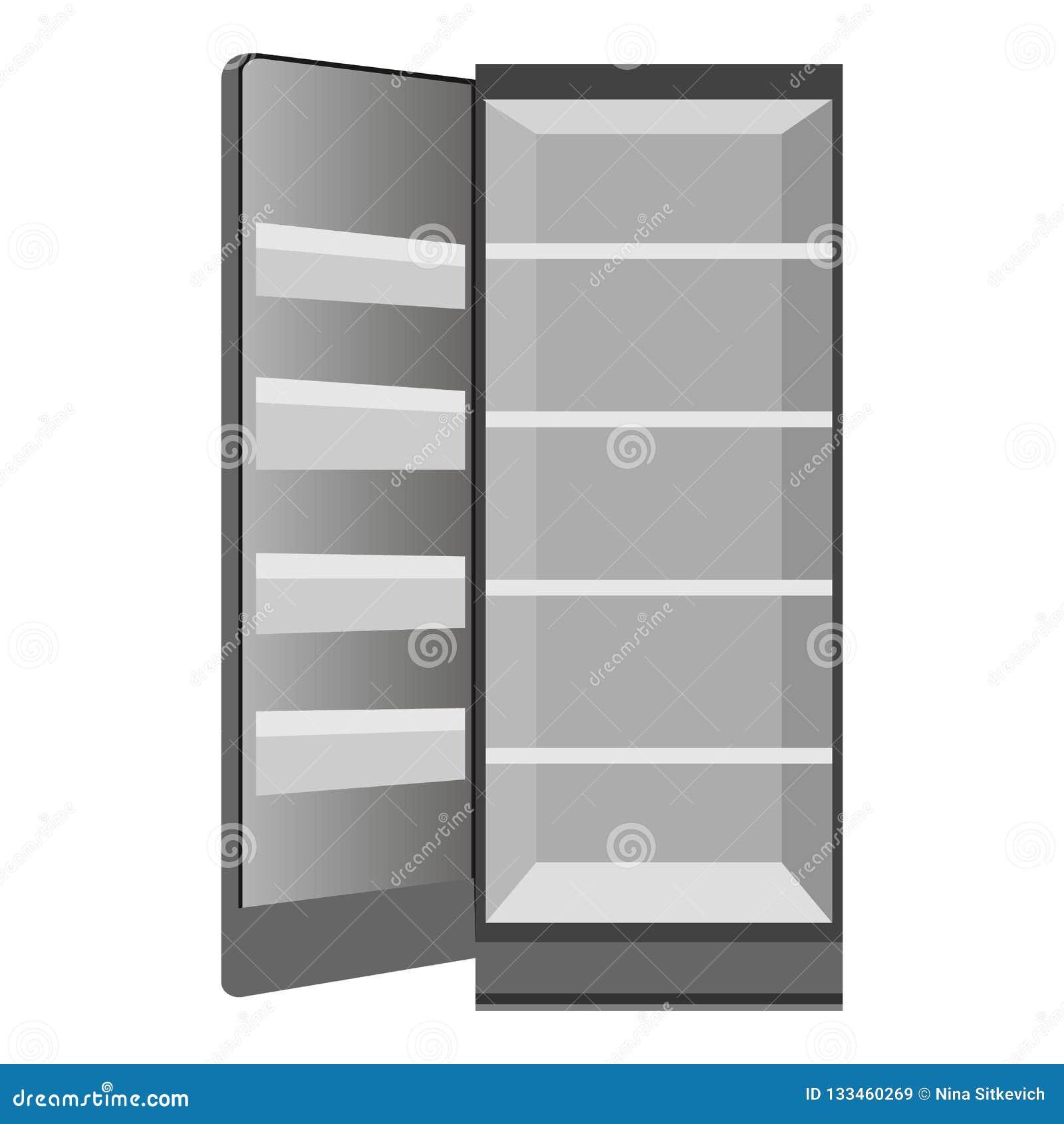 Ícone aberto vazio do refrigerador, estilo dos desenhos animados