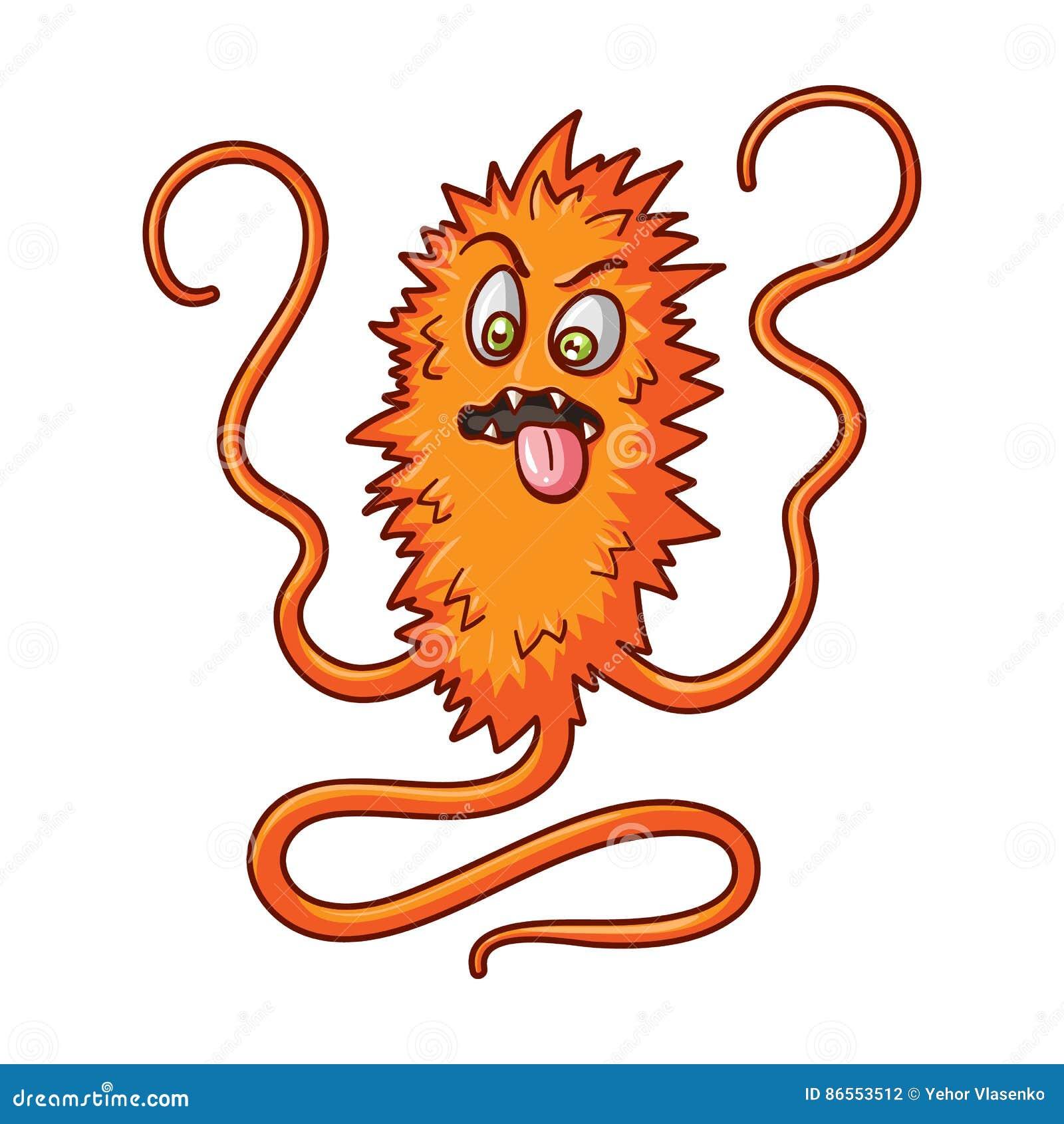 Ícone alaranjado do vírus no estilo dos desenhos animados isolado no fundo branco Vírus e ilustração do vetor do estoque do símbo