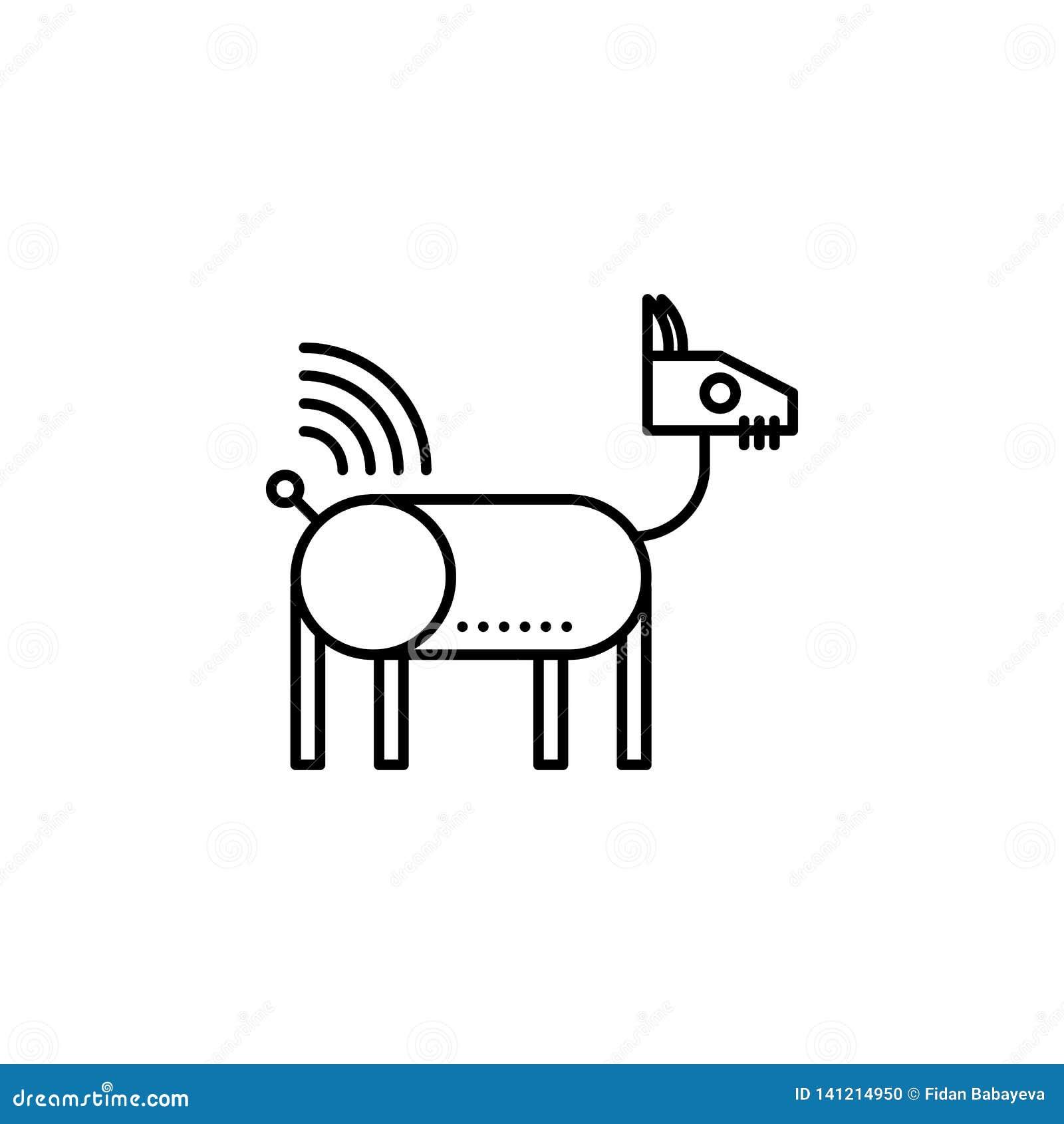 Ícone animal do esboço do cão do robô da robótica Os sinais e os símbolos podem ser usados para a Web, logotipo, app móvel, UI, U