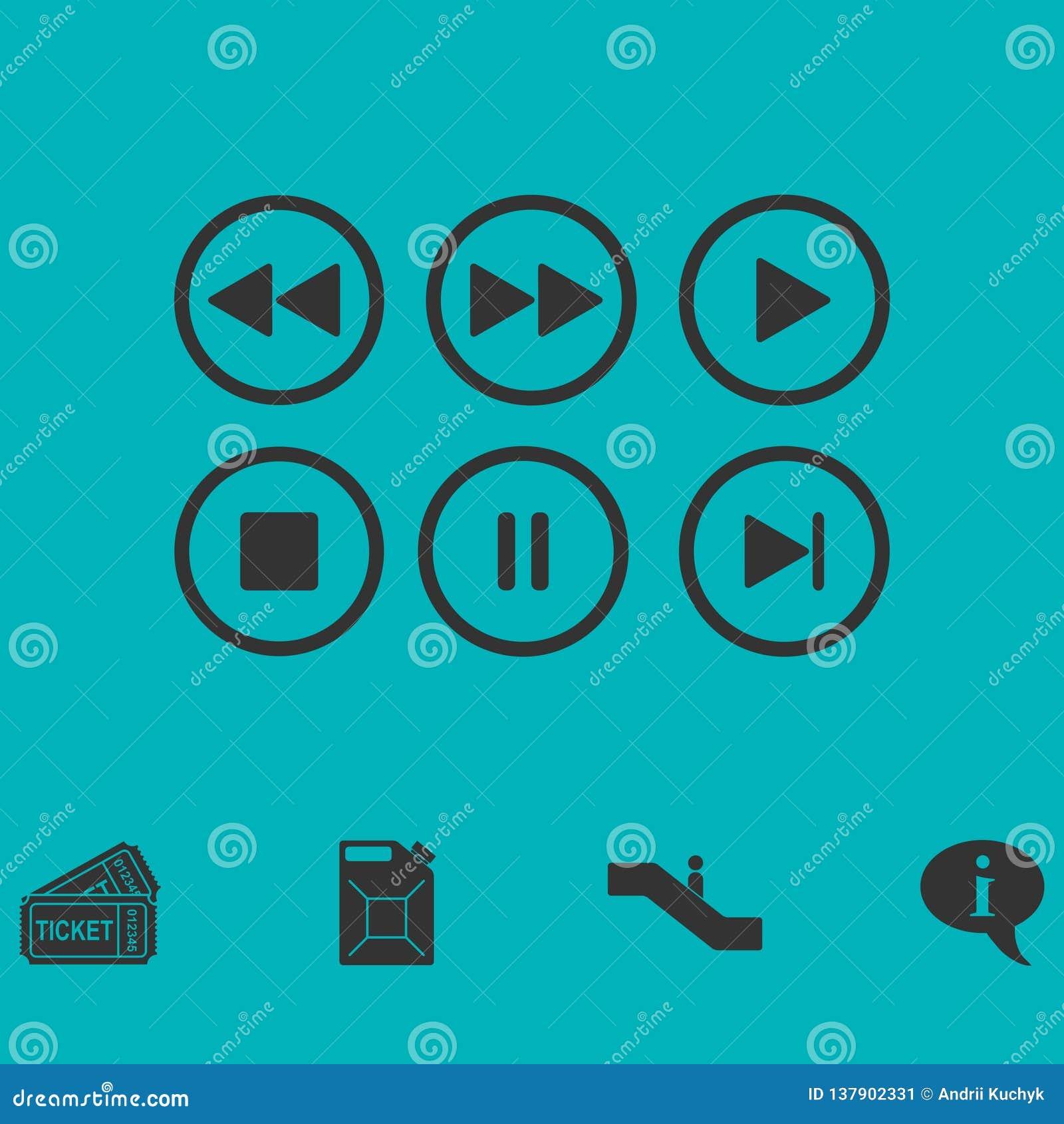 Ícone audio video dos botões do jogador horizontalmente