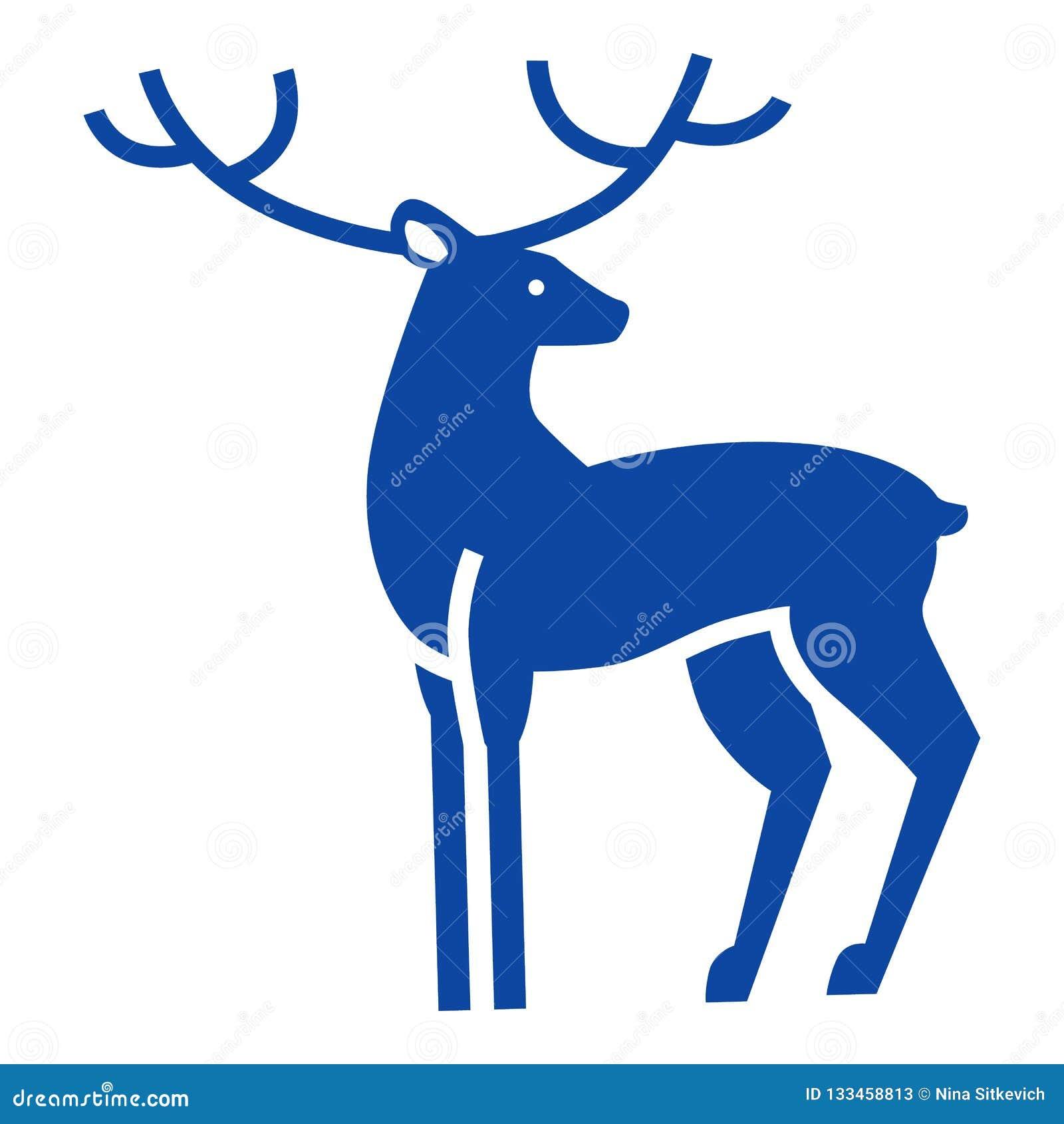Ícone azul dos cervos do xmas, estilo simples