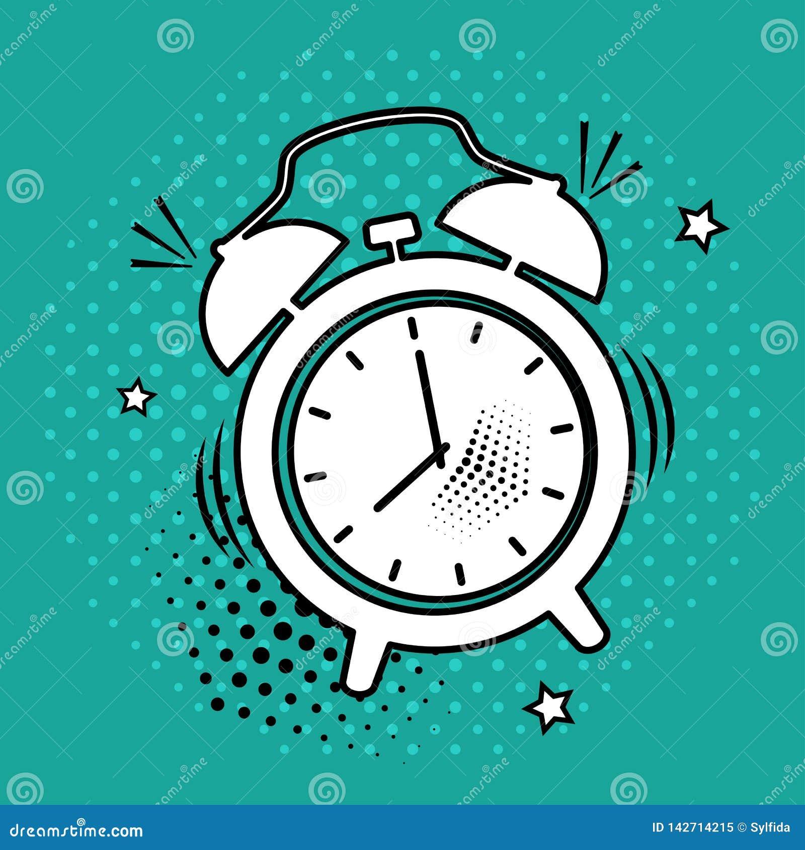 Ícone branco do despertador no fundo verde no estilo do pop art Ilustração do vetor