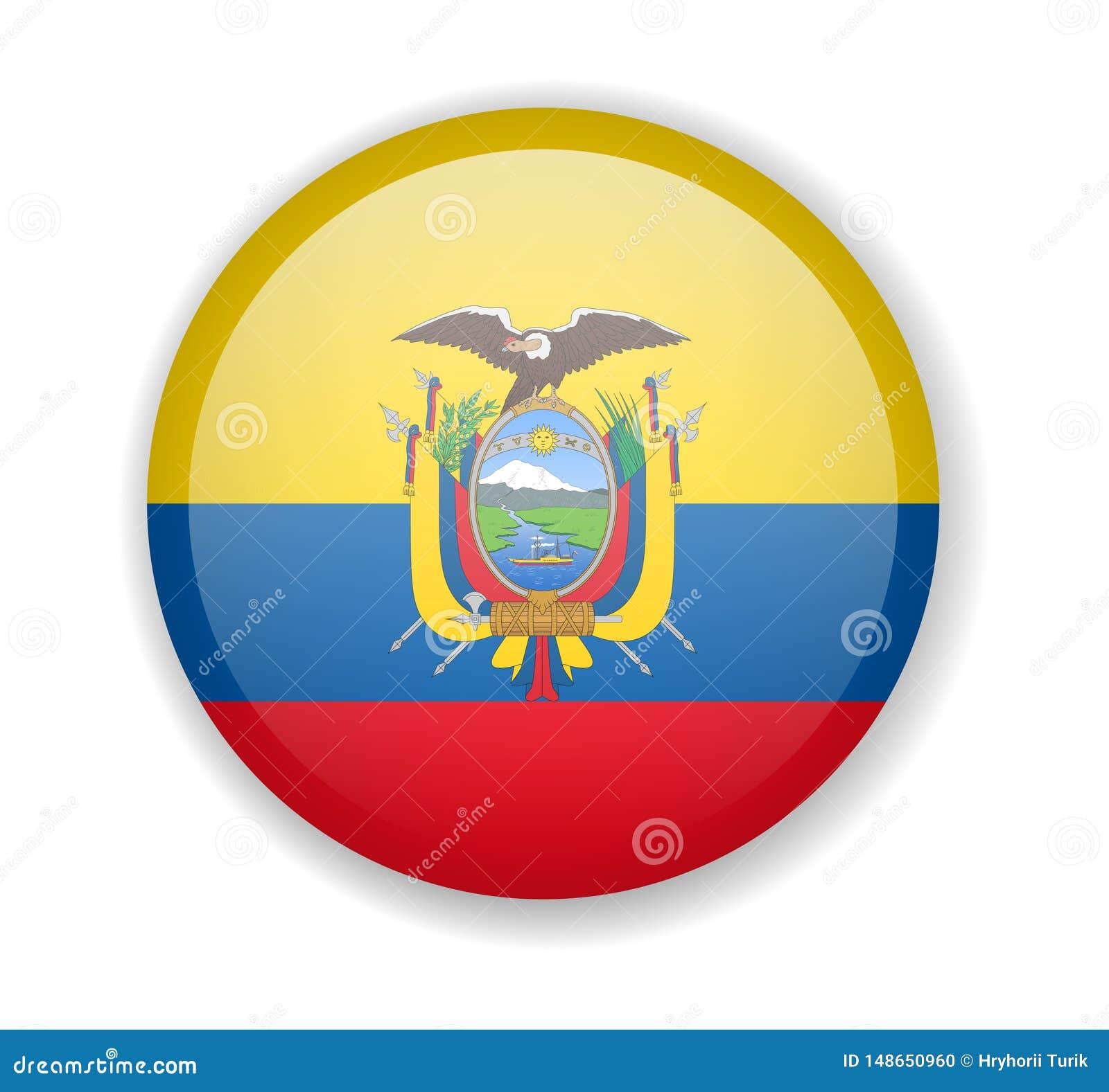 ícone Brilhante Redondo Da Bandeira De Equador Em Um Fundo Branco Ilustração Stock Ilustração De Vetor Liberdade 148650960