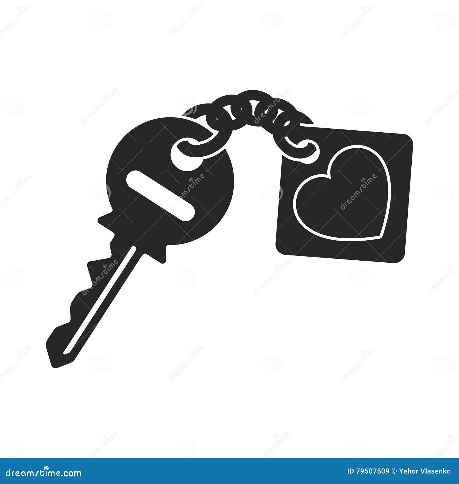 Ícone chave no estilo preto no fundo branco Ilustração romântica do vetor do estoque do símbolo