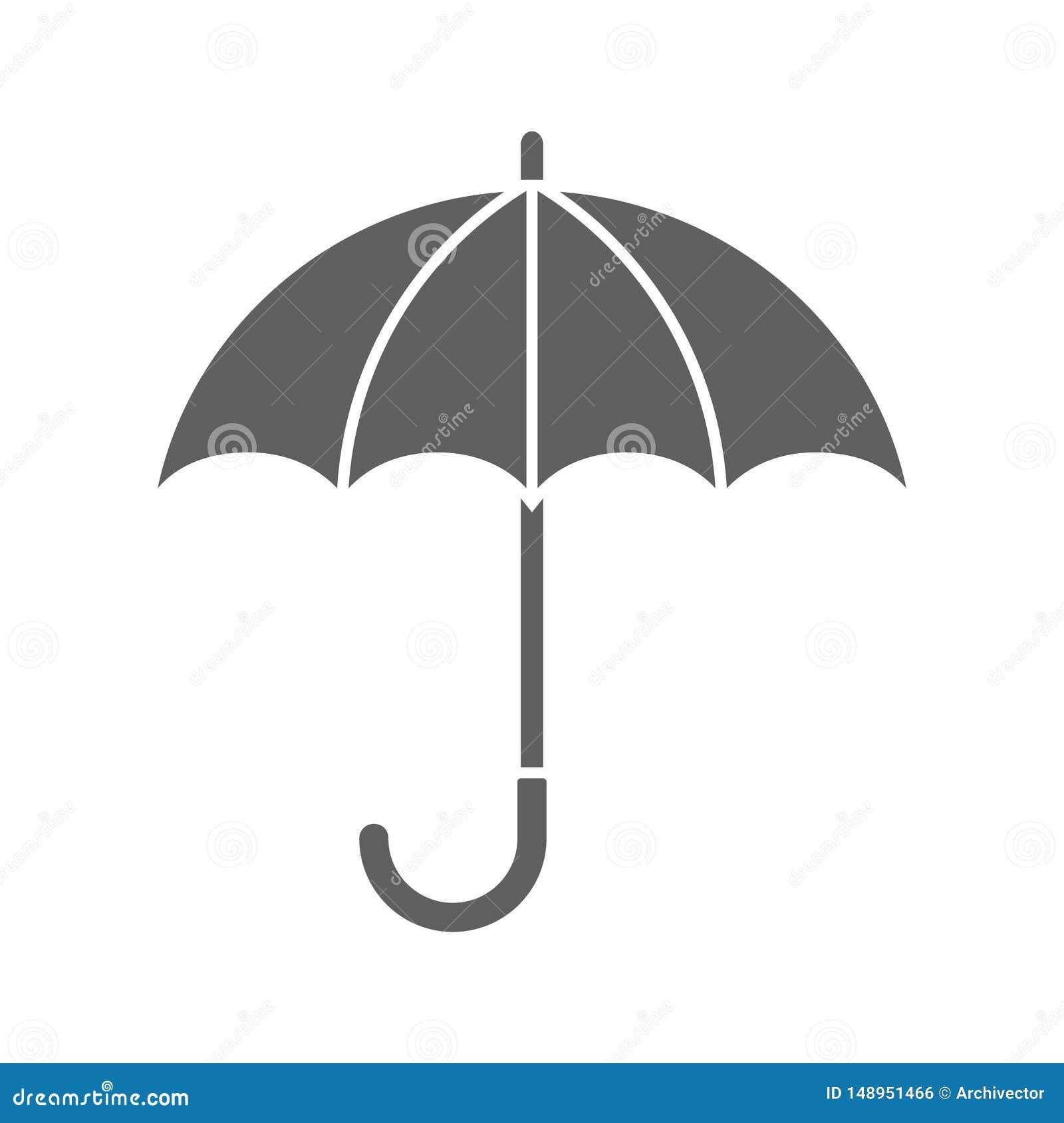 Ícone cinzento gráfico do guarda-chuva