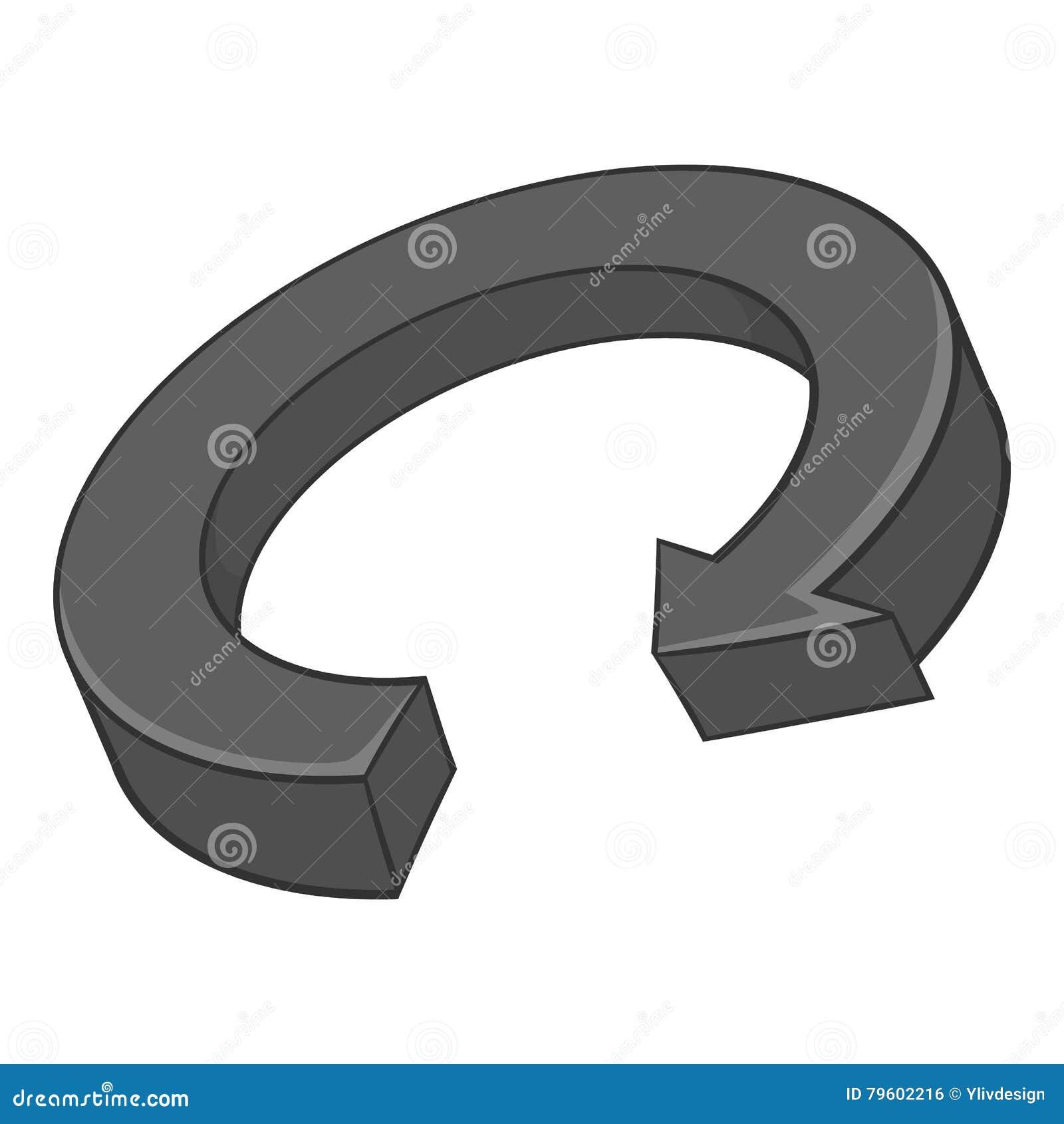 Ícone circular da seta, estilo monocromático preto