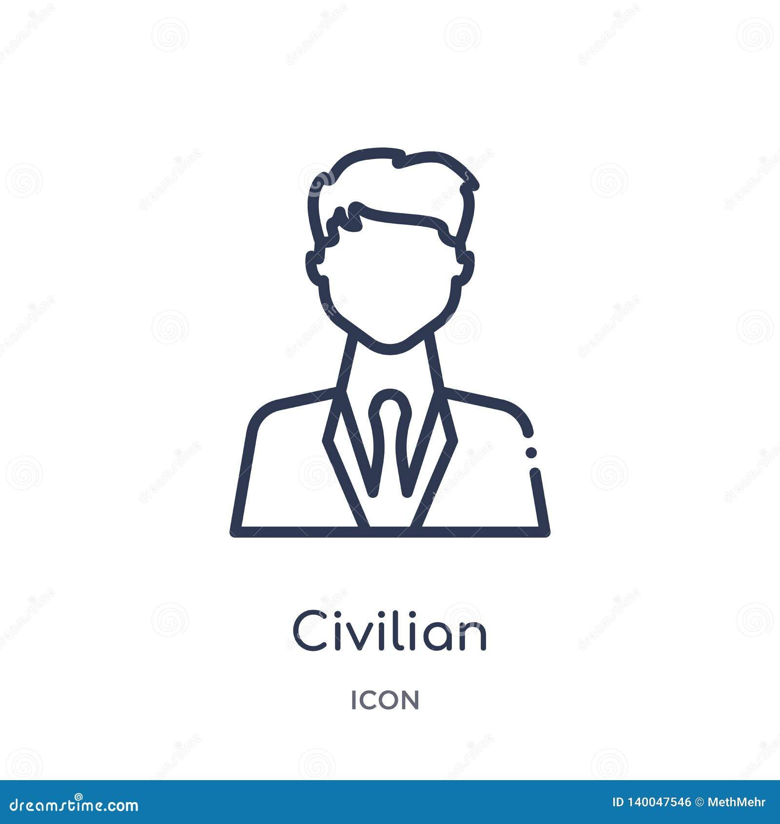 Ícone civil linear da coleção do esboço do exército e da guerra Linha fina vetor civil isolado no fundo branco na moda civil