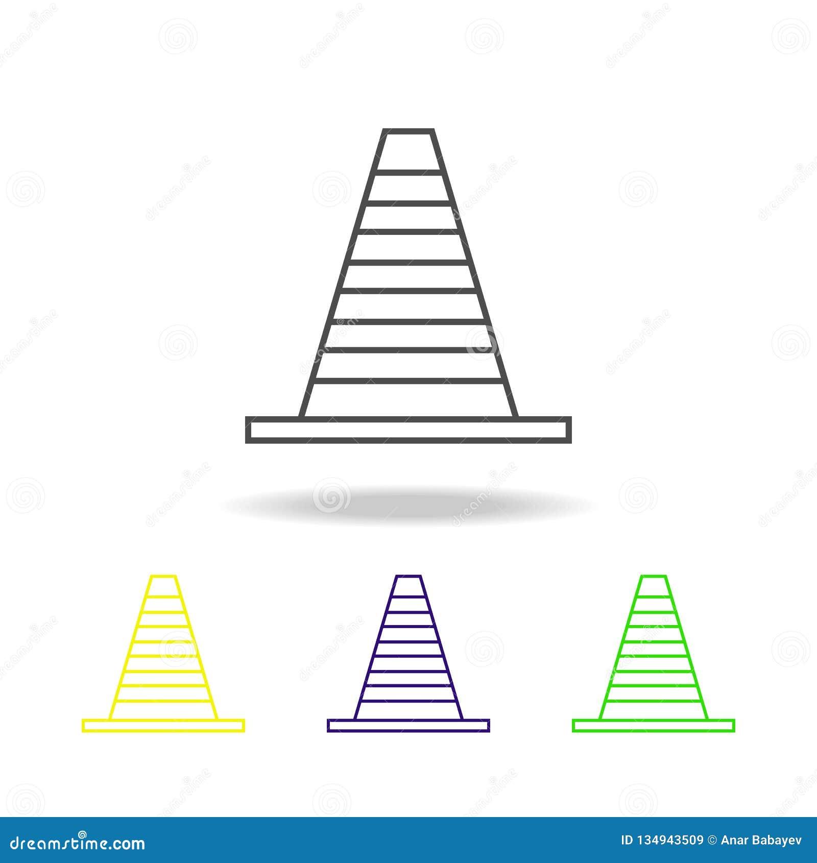 ícone colorido cone da estrada Pode ser usado para a Web, logotipo, app móvel, UI, UX