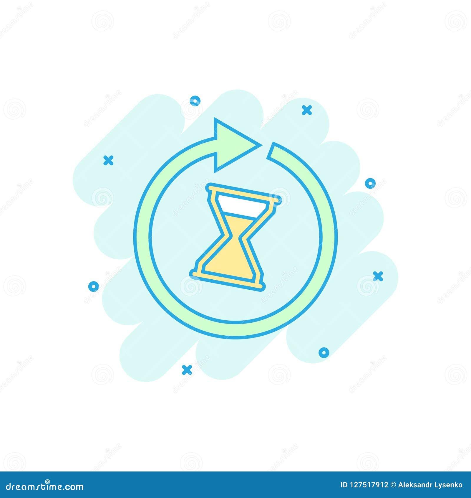 Ícone colorido desenhos animados do tempo no estilo cômico Ilustração da ampulheta