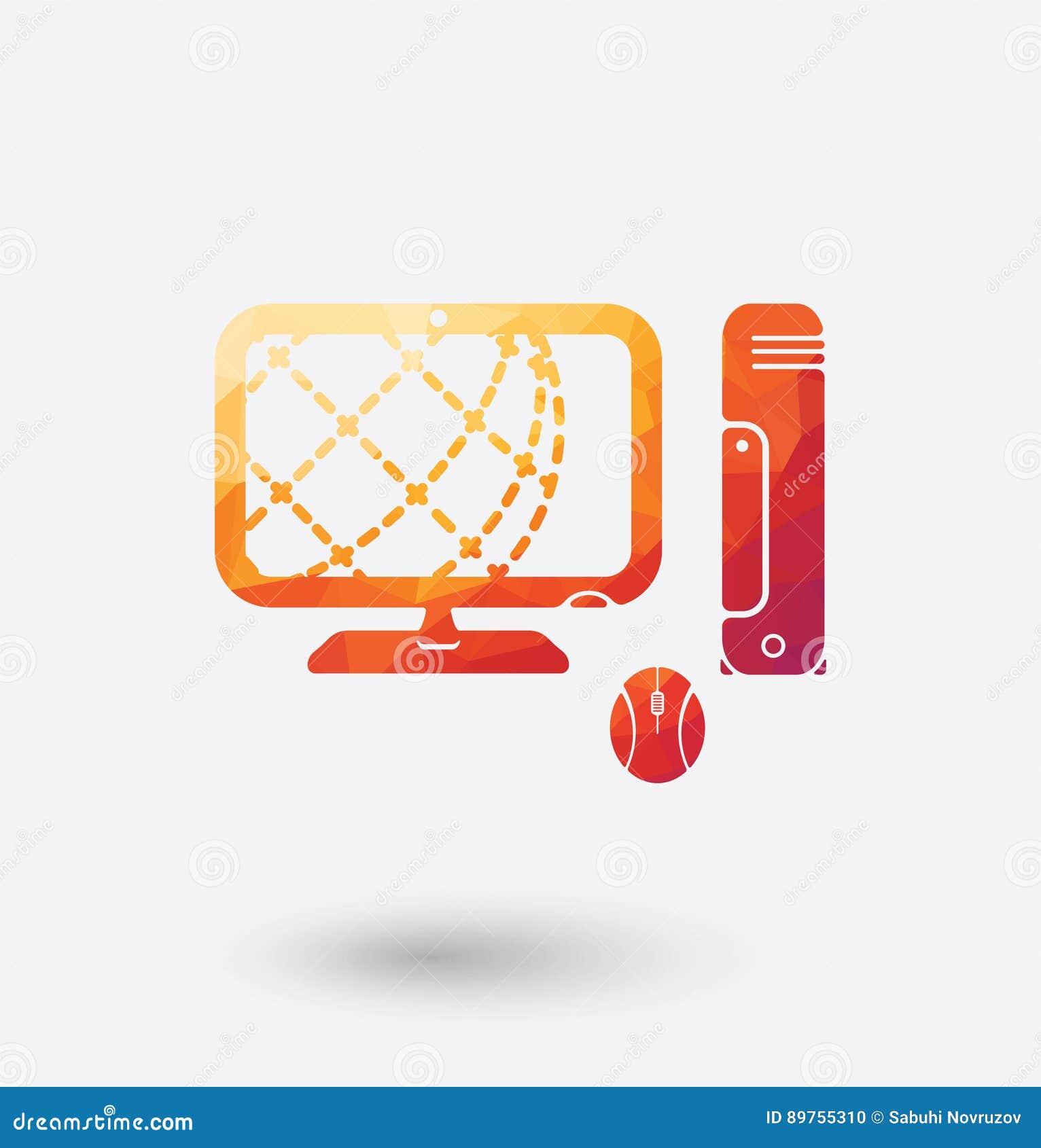 Ícone colorido do PC no fundo branco