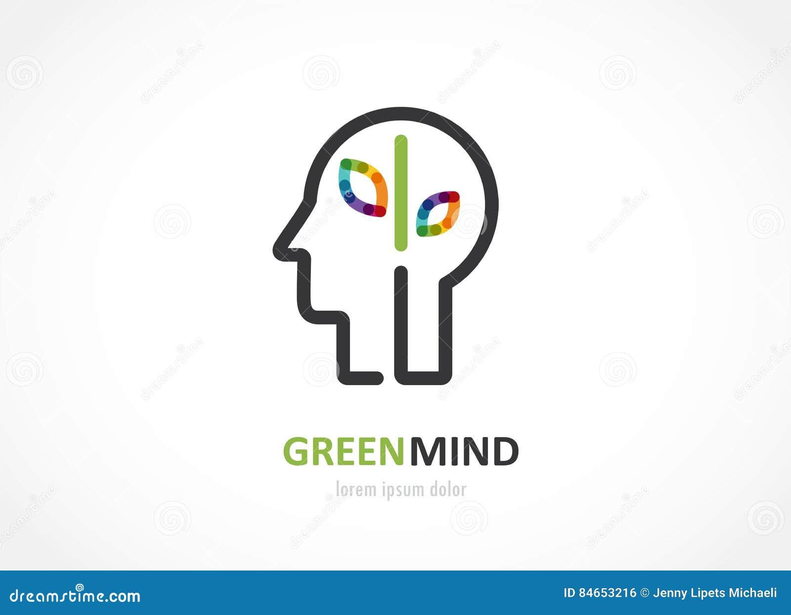 Ícone colorido do sumário verde da mente da cabeça humana, símbolo do cérebro