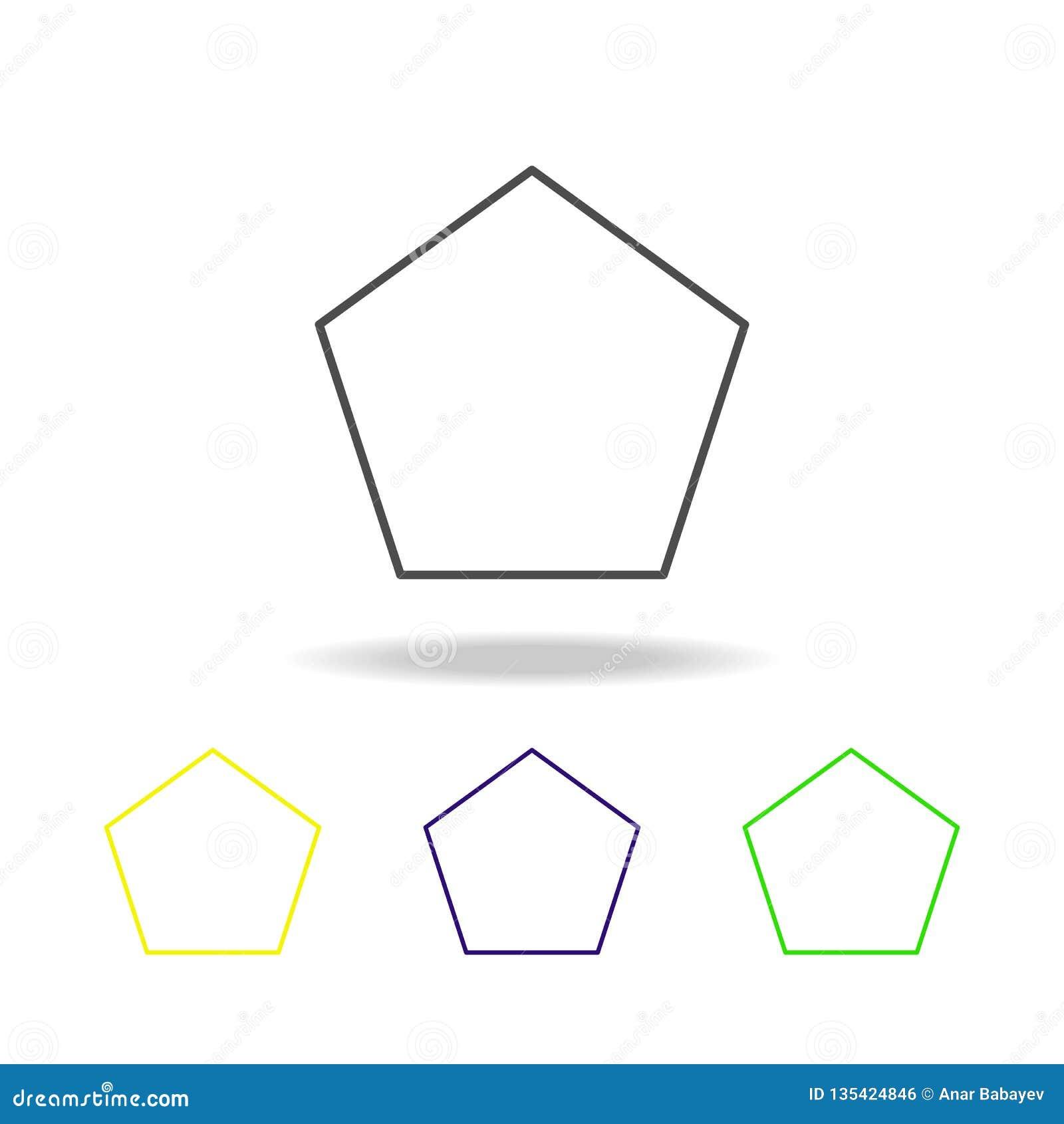ícone colorido pentagon Pode ser usado para a Web, logotipo, app móvel, UI, UX