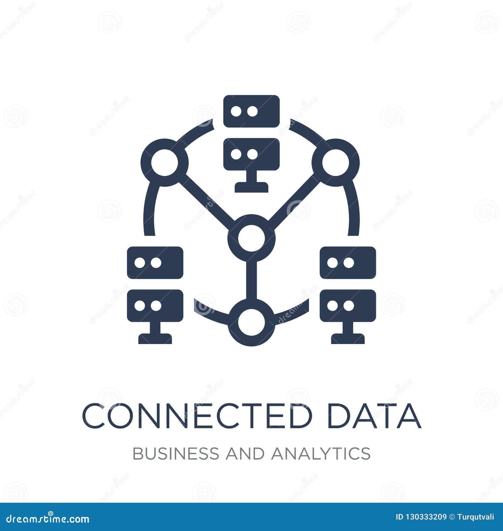 Ícone conectado dos dados O vetor liso na moda conectou o ícone dos dados em w