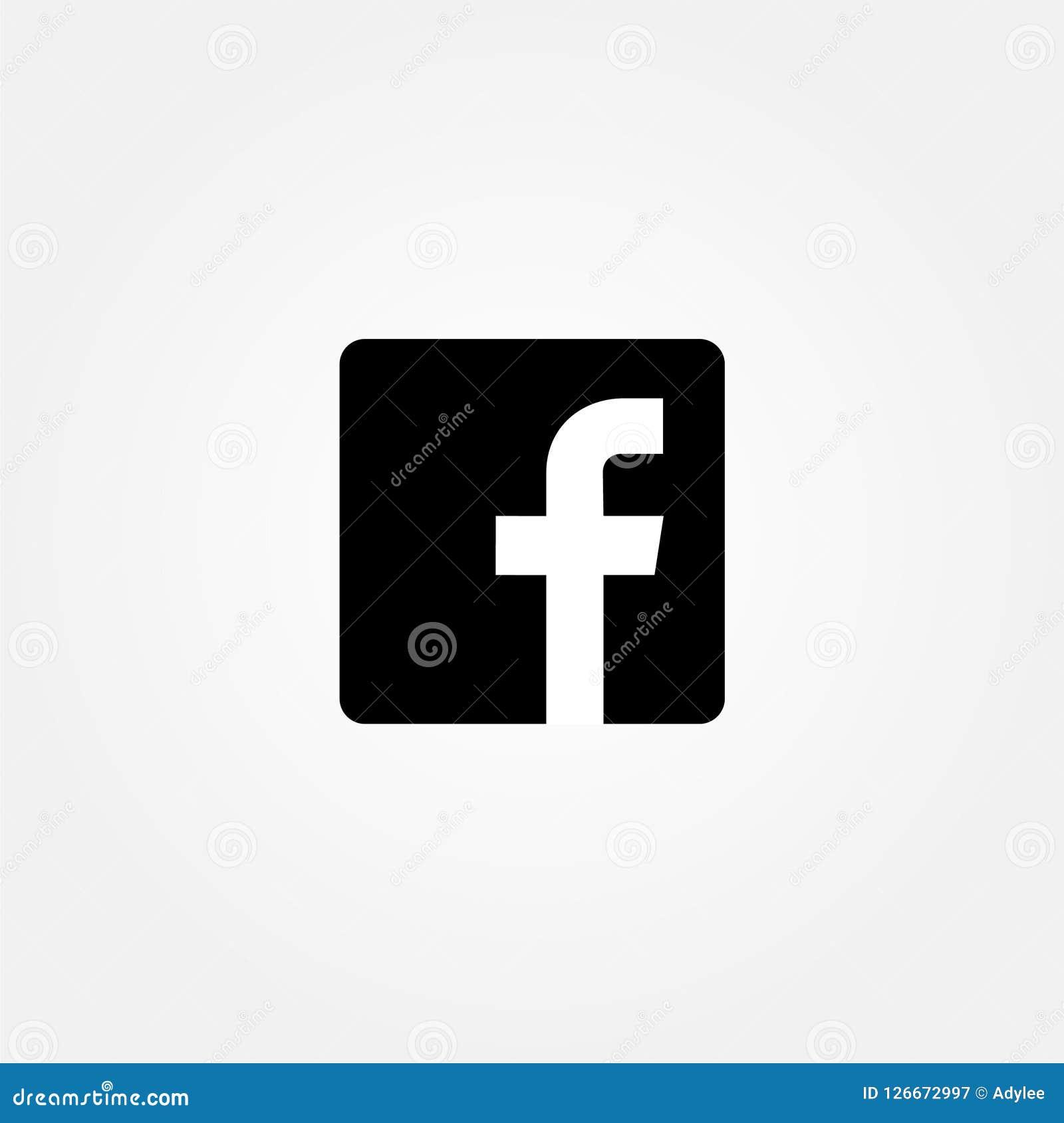 Ícone conservado em estoque do facebook do vetor com a cor preta lisa