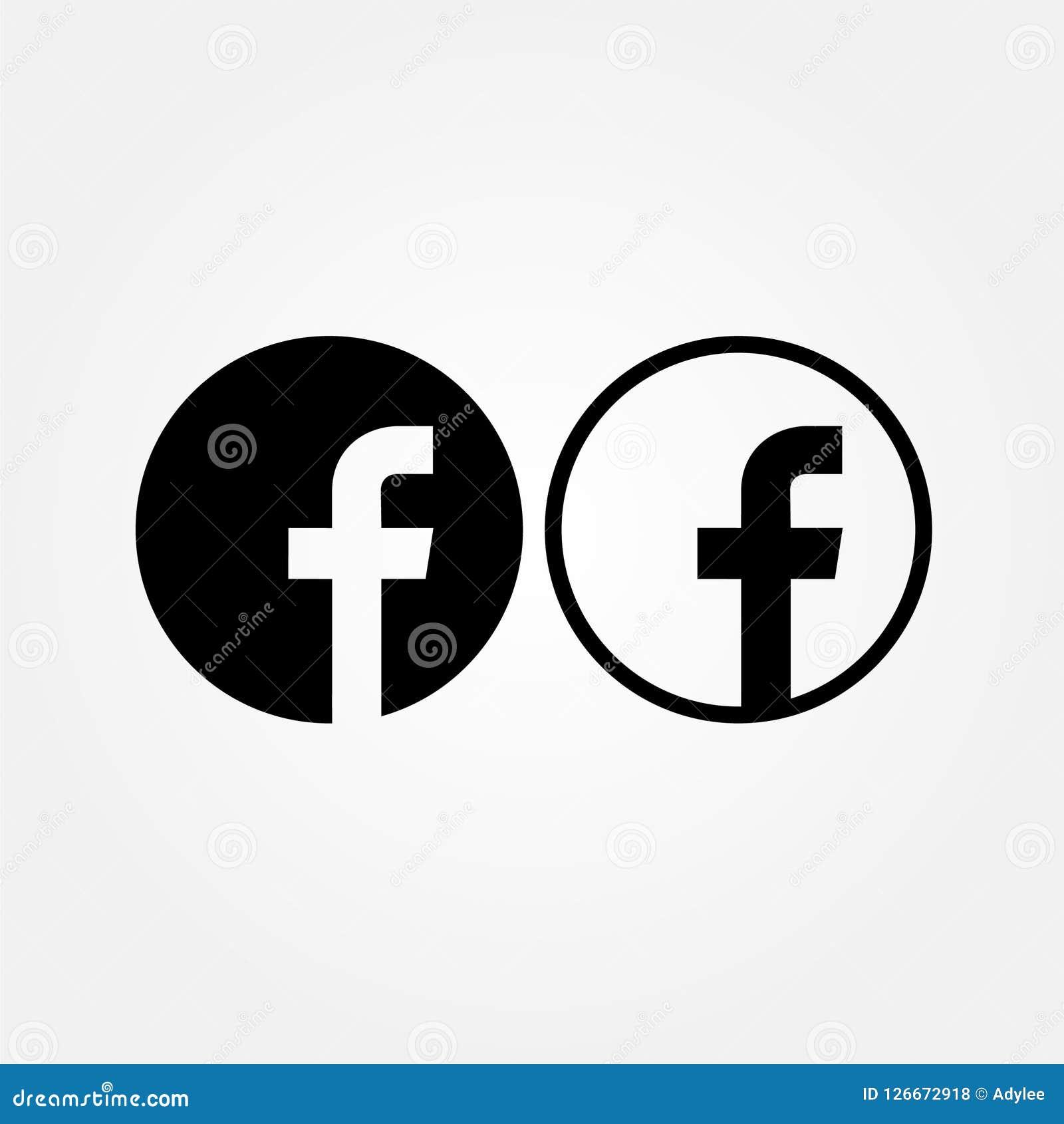 Ícone conservado em estoque do facebook do vetor com estilo dois