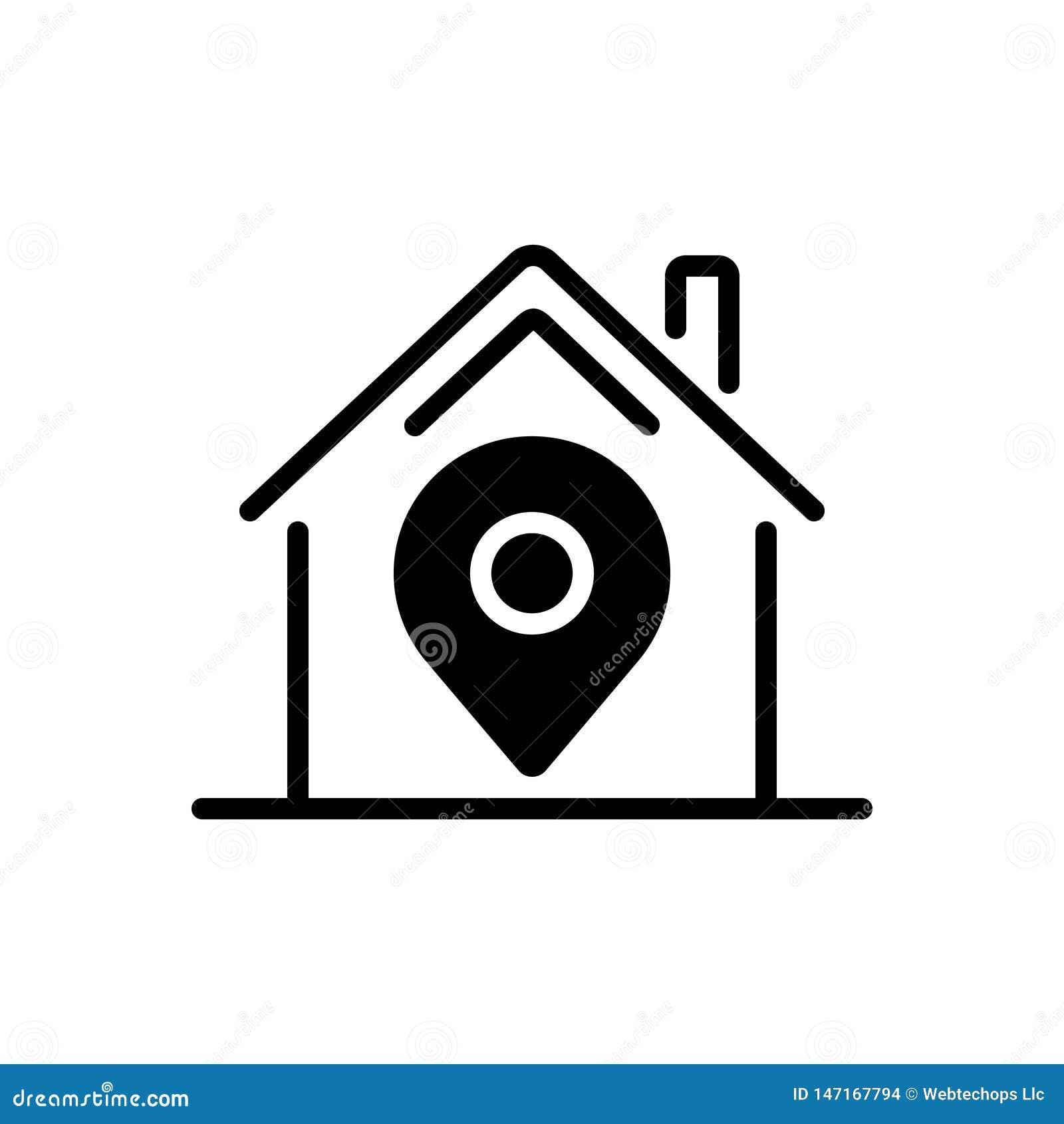 Ícone contínuo para o lugar de casa, local pretos e o mapa